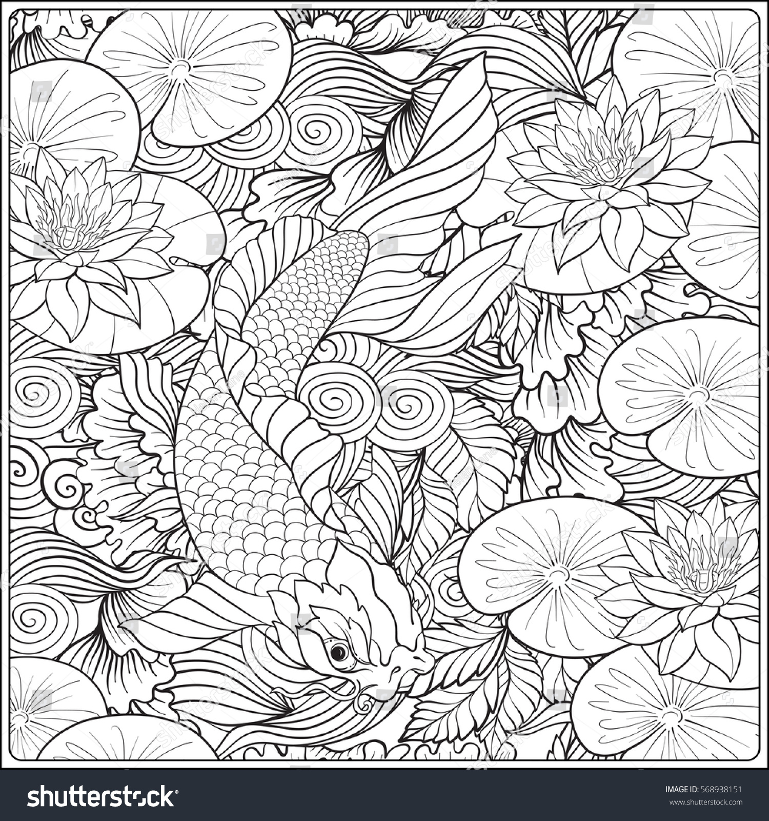 Lotus designs coloring book - Japanese Landscape With Lotus And Fish Outline Drawing Coloring Page Coloring Book For Adult