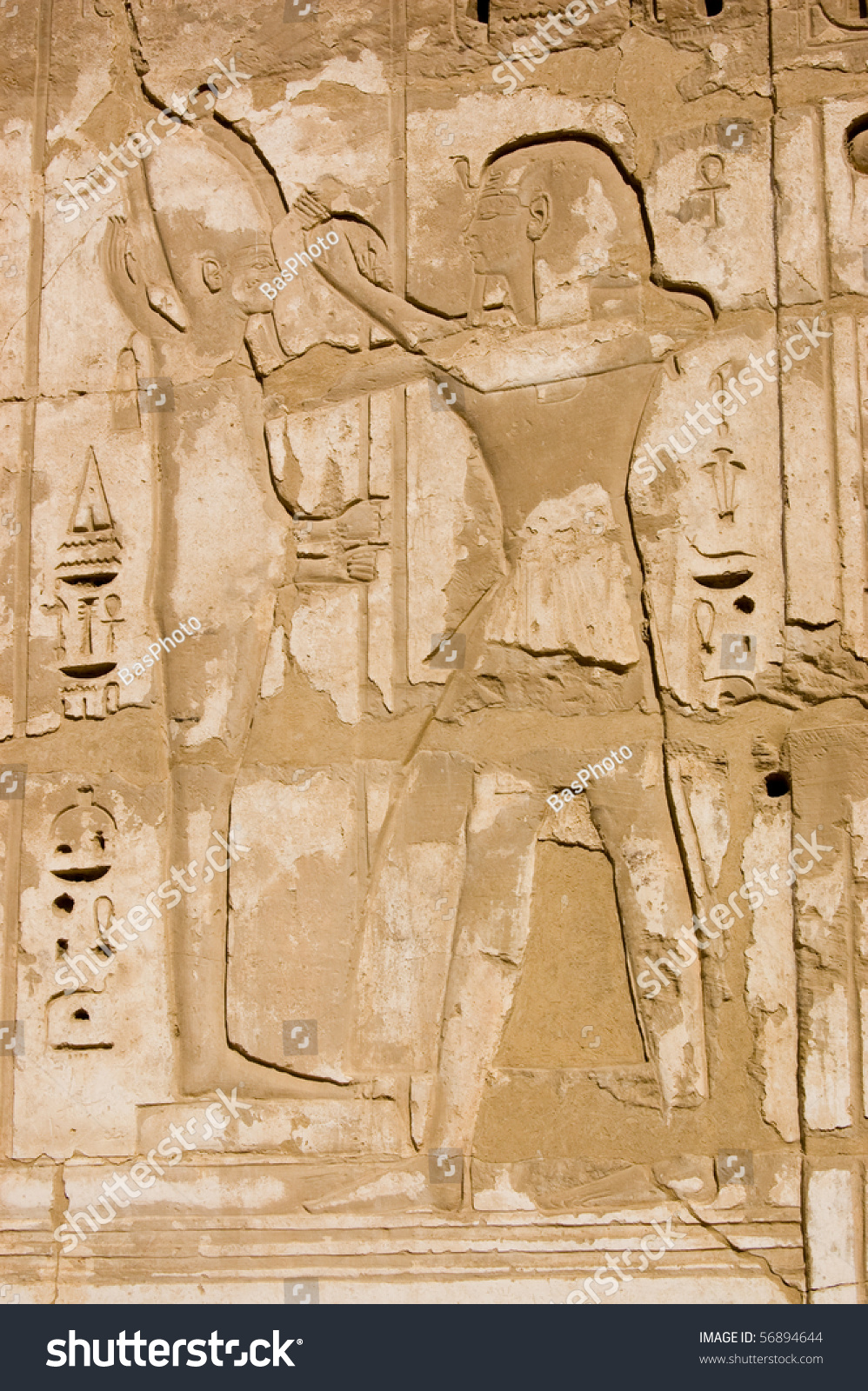 Ancient egyptian hieroglyphic carving ramses ii stock