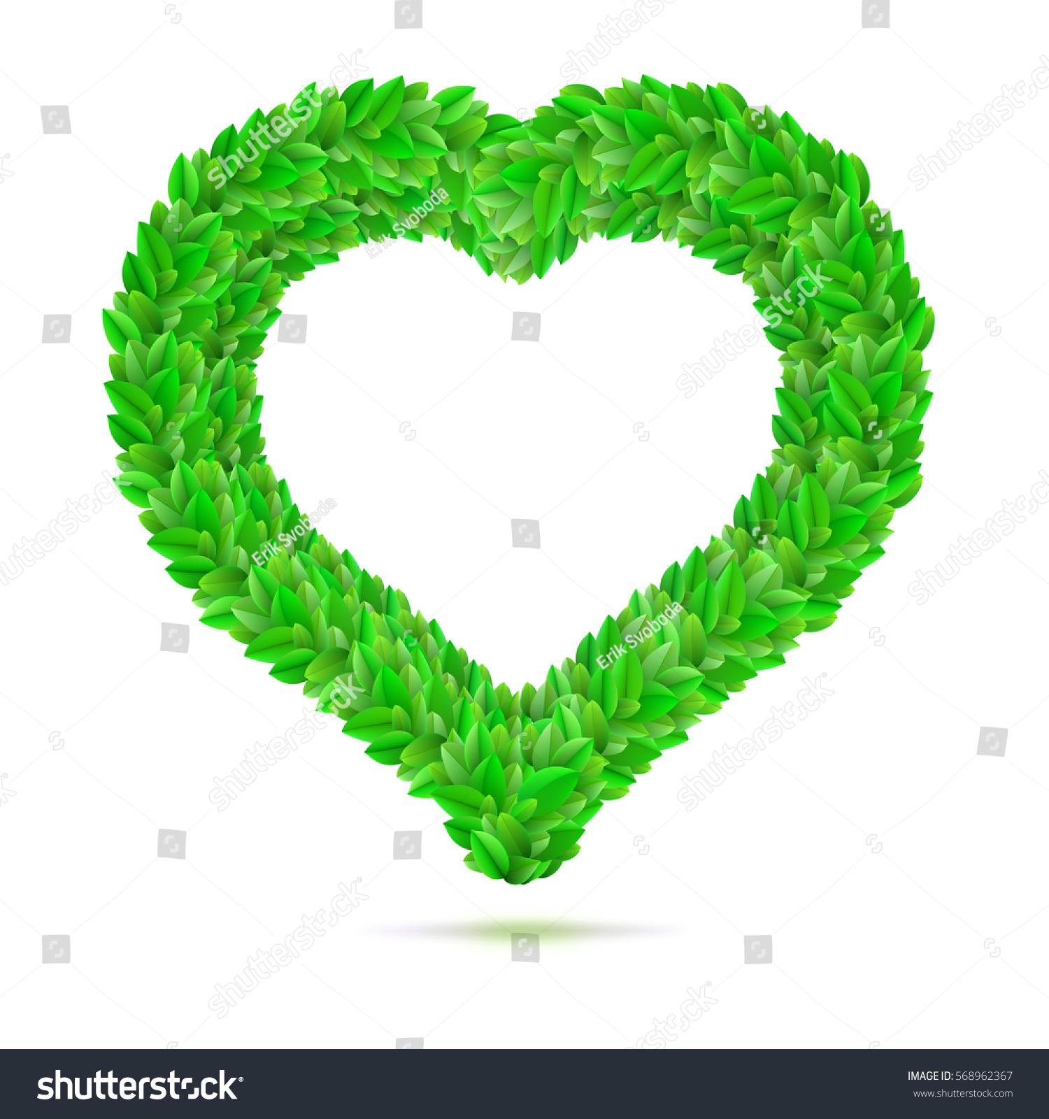 Heart Symbol Green Leaves Love Nature Stock Vector Royalty Free