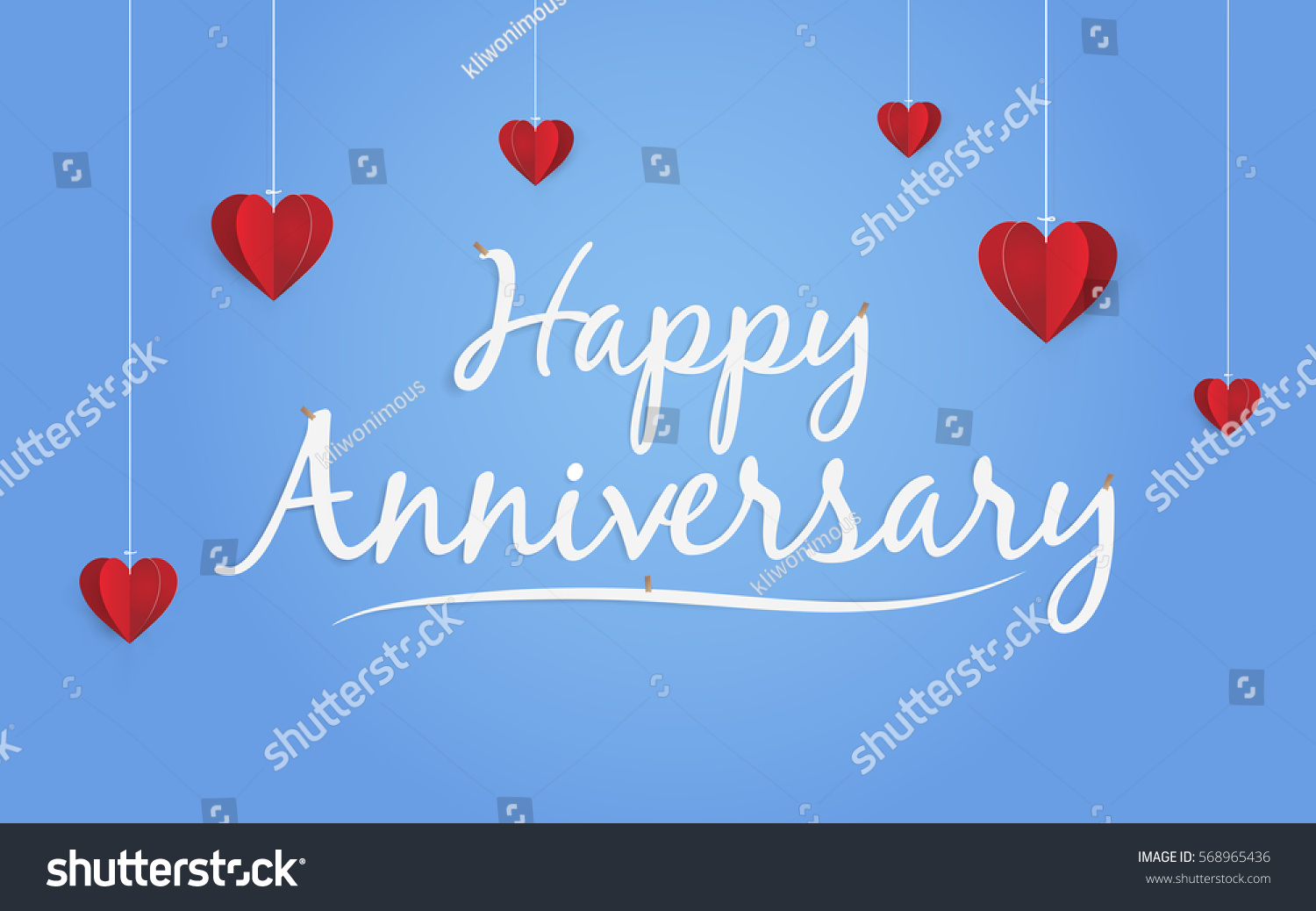 Happy Anniversary Design Paper Art Style Stock Vector Royalty Free