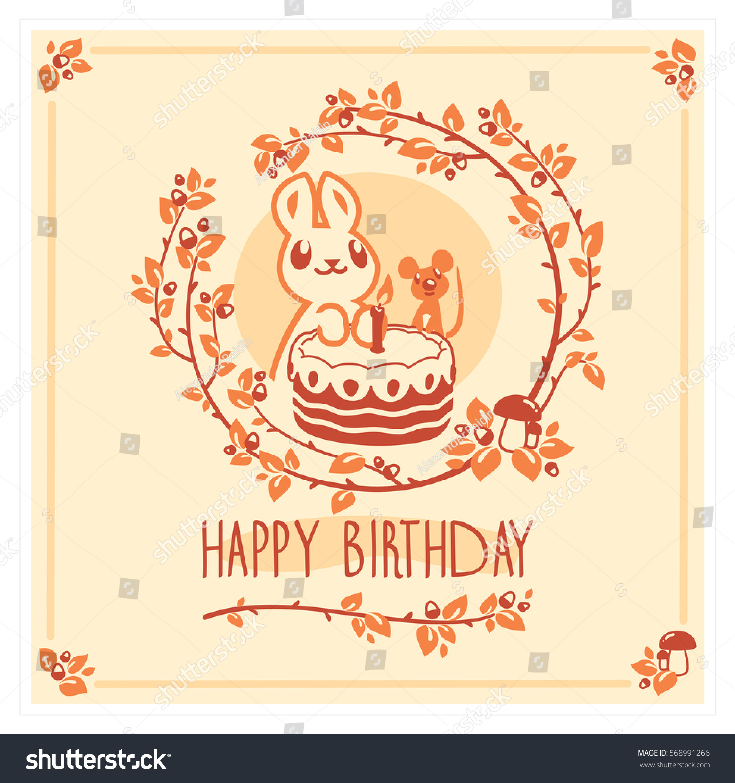Vector Happy Birthday Card With Cute Rabbit Mouse And Cake