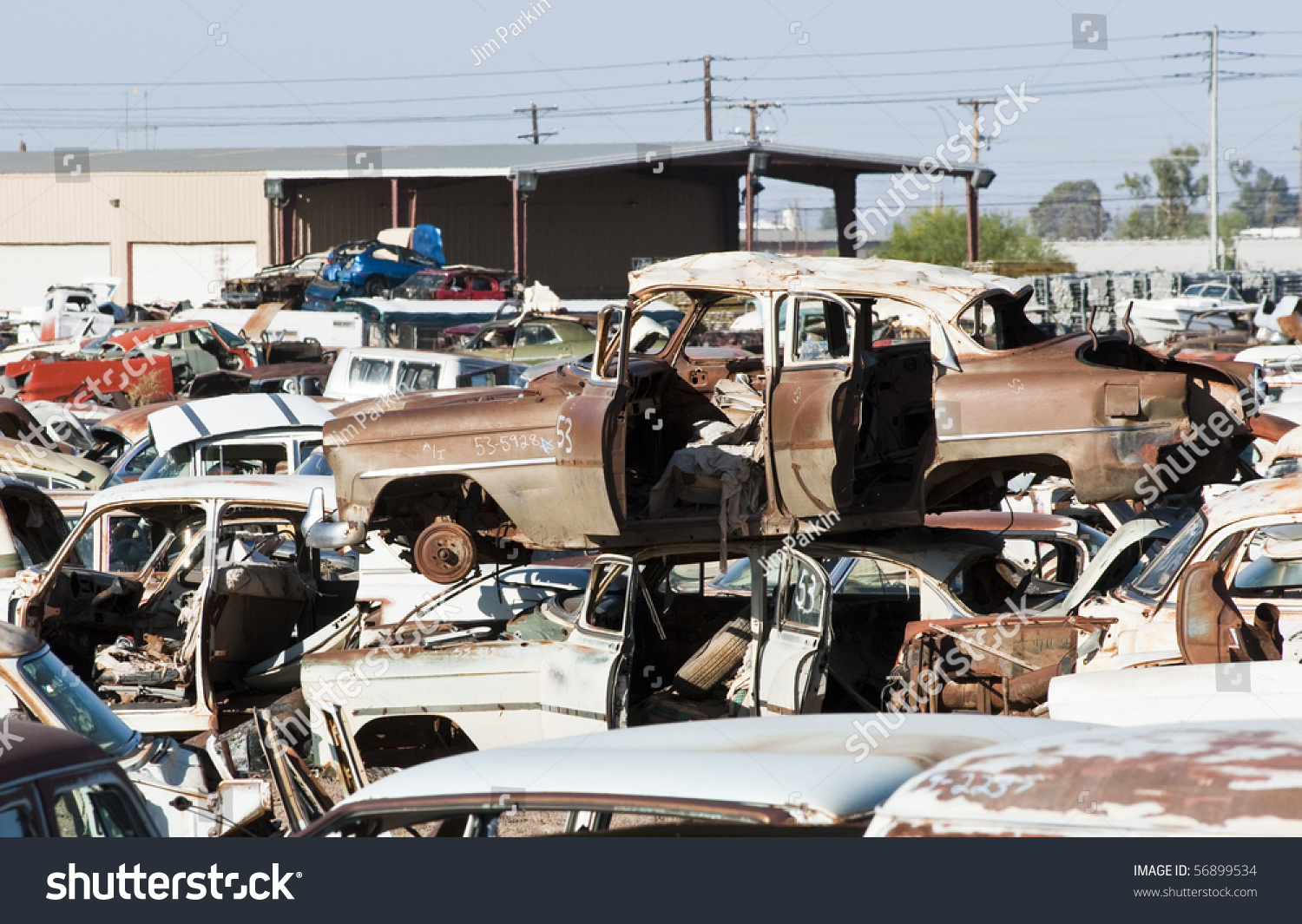 Old Vehicles Auto Salvage Yard Being Stock Photo (100% Legal ...