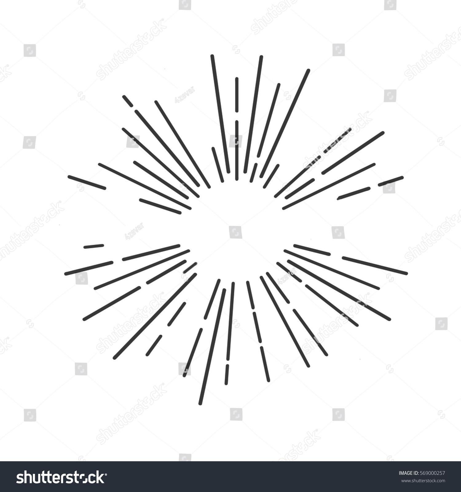 Line Drawing Sun Vector : Sun rays hand drawn linear drawing stock vector