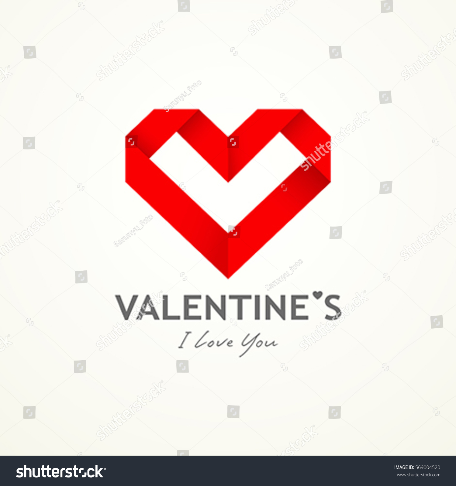 happy valentine day origami heart paper design background vector illustrations