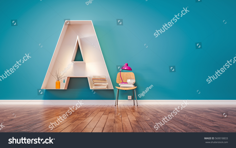 Room For Learning The Letter A Has Designed Bookshelf 3d Render And Illustration