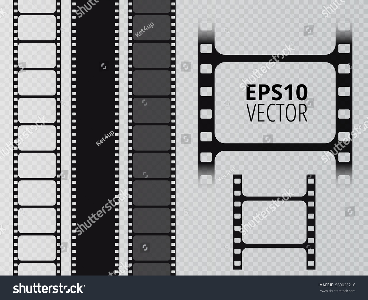 Set of vector film strip isolated on transparent background.
