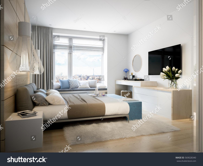 Bright Cozy Modern Bedroom Dressing Room Stock Illustration ...