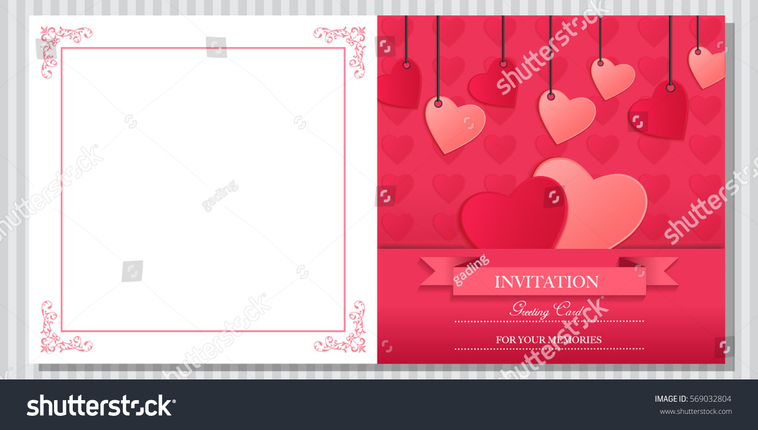Valentines Wedding Invitation Card Editable Font Stock Vector ...