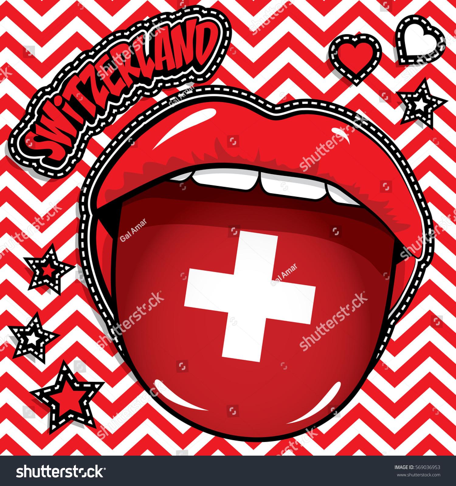 Happy Birthday Switzerland Pop Art y Stock Vector