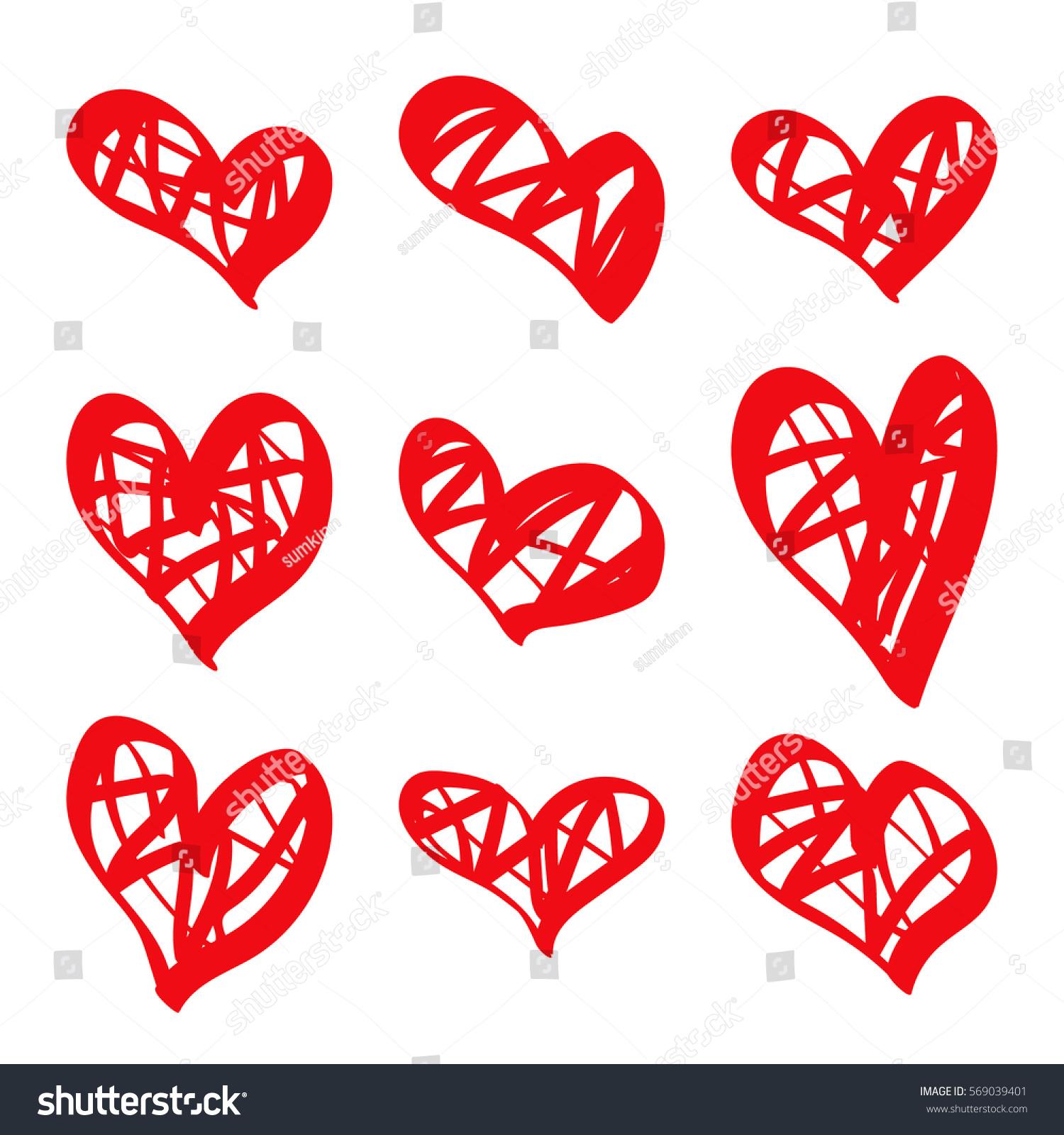 modern vector set hand drawn red stock vector 569039401 shutterstock