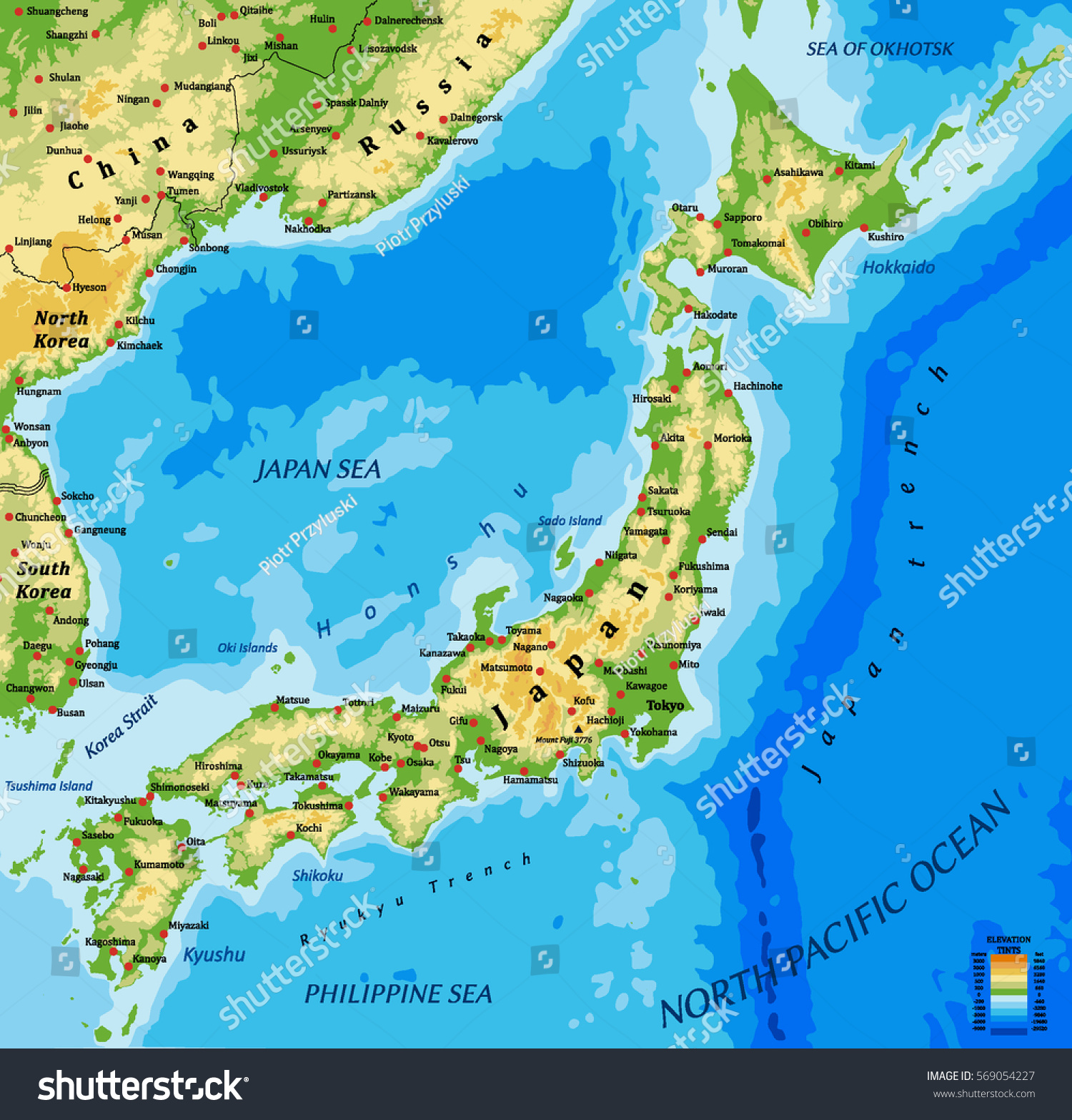 Japan Physical Vector Map Main Cities Stock Vector - Japan map main cities