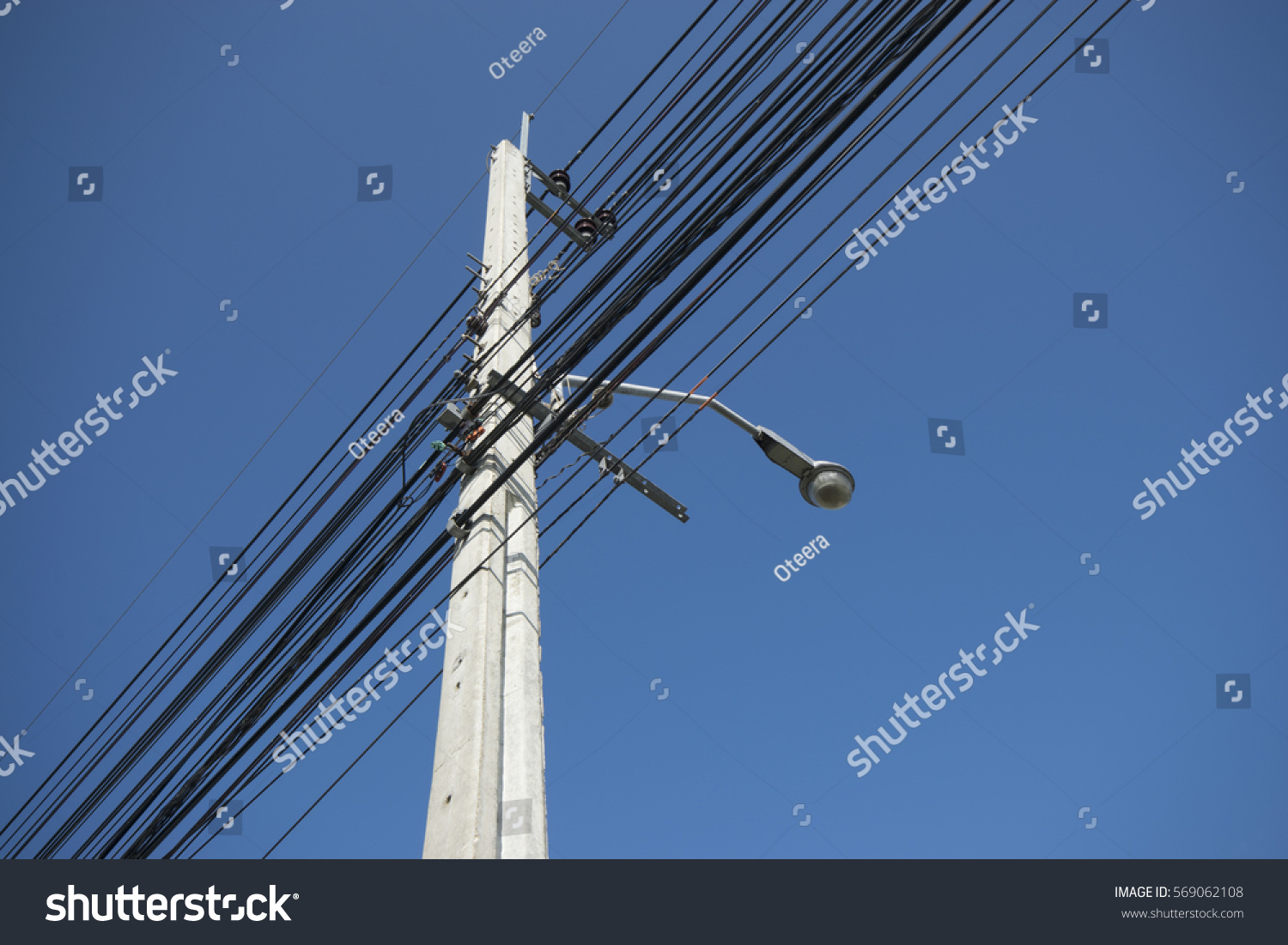 Electricity Post Cable Street Lamp On Stock Photo (Edit Now ...