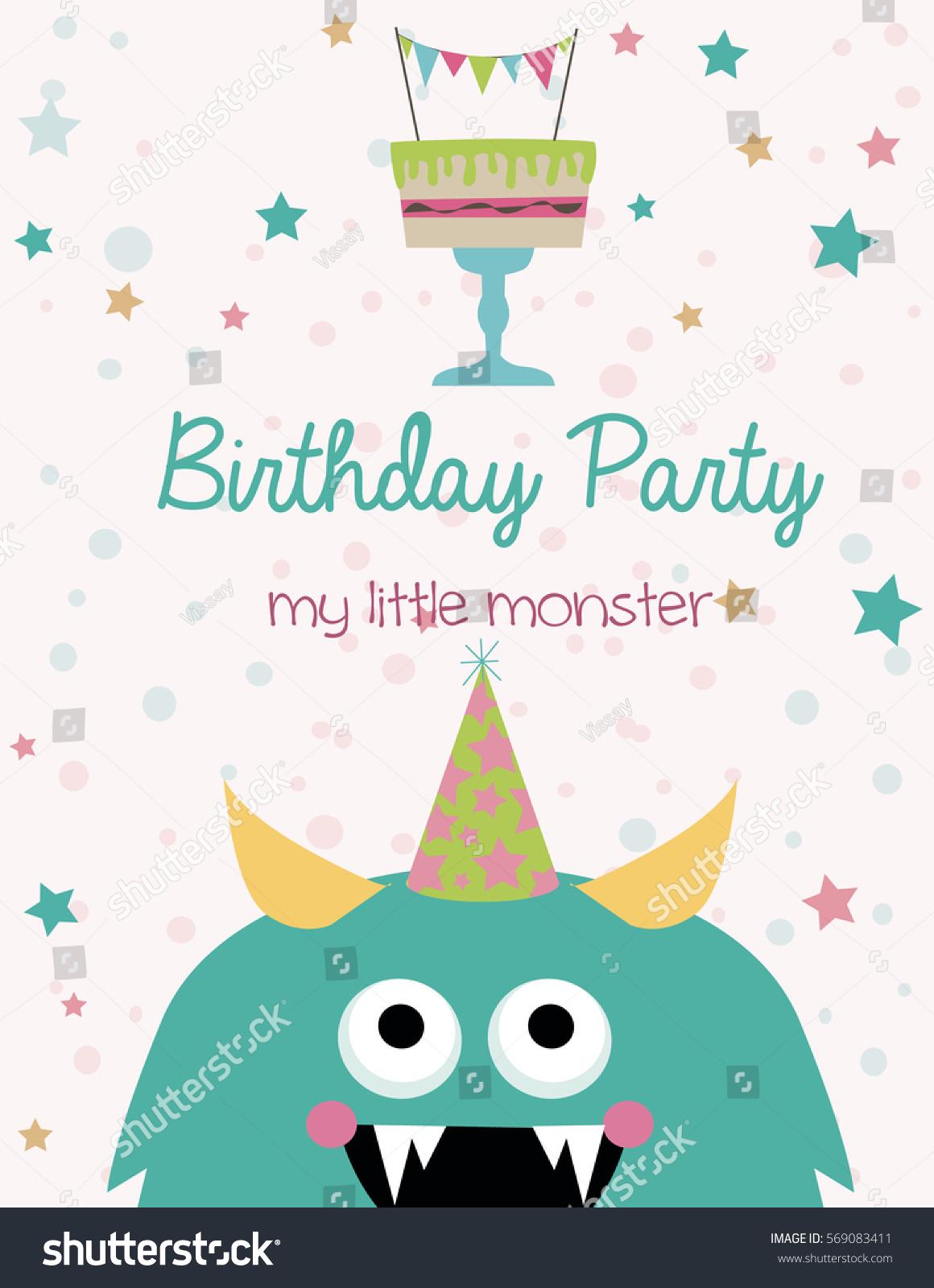 Funny Birthday Greeting Invitation Card Monster Stock Vector ...
