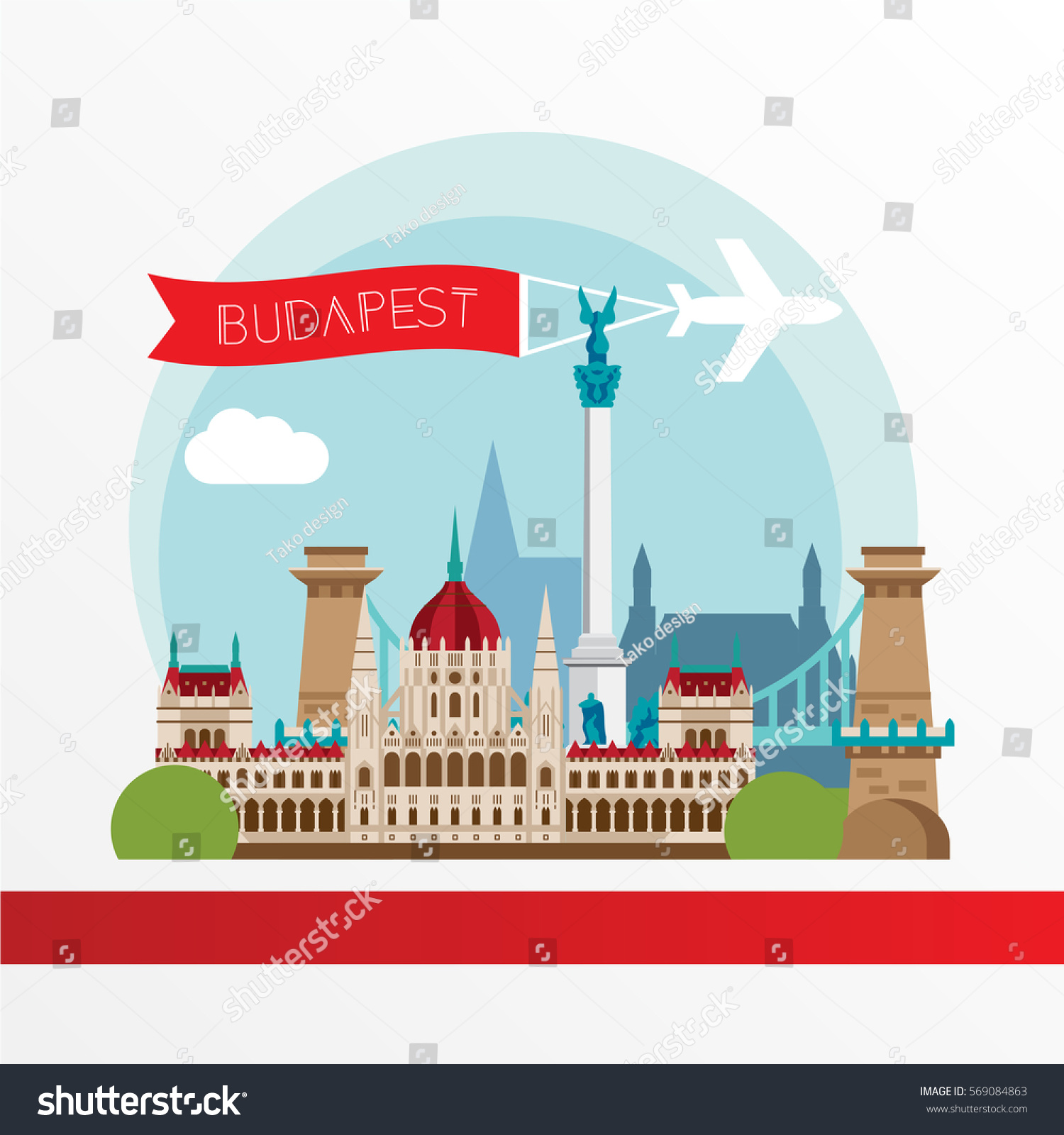Budapest Detailed Silhouette Trendy Stylish Colorful Stock
