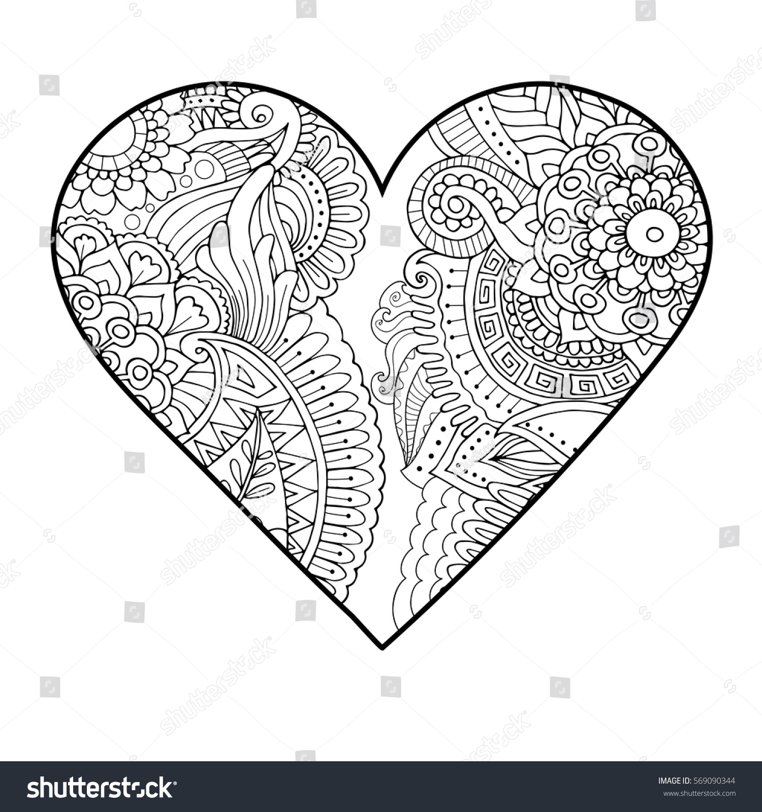 Adult Coloring Book Style Zentangle Floral Heart Passion Symbol Valentines Day Decor