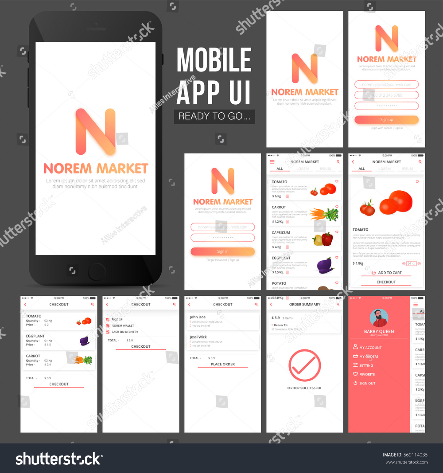 Online shopping mobile apps ui ux stock vector 569114035 for Mobili shop on line
