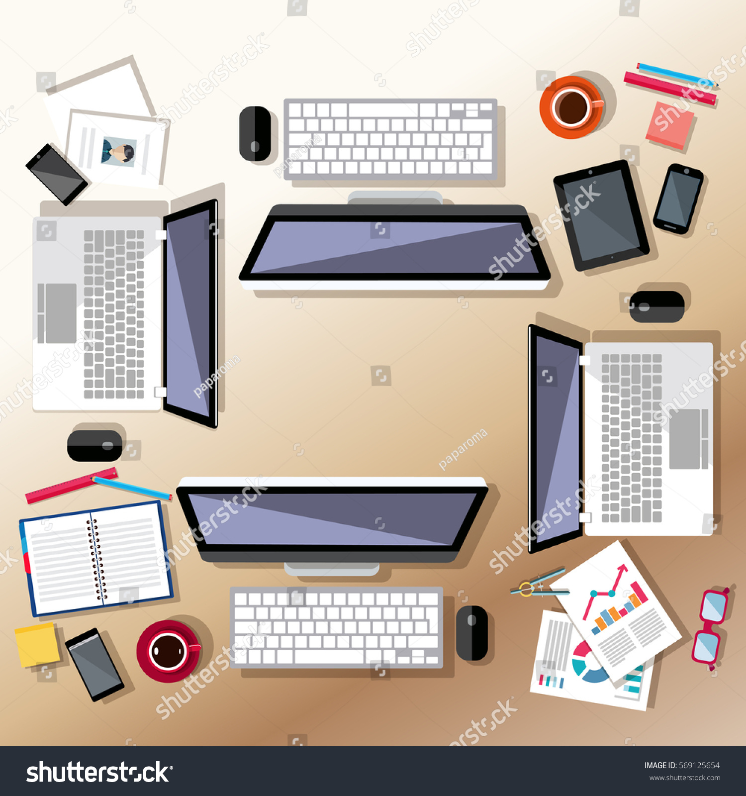 Working place flat design your own stock illustration for Design your own space