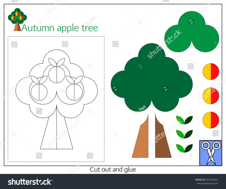 Card Autumn Apple Tree Paper Application Stock Vector 569145454 ...