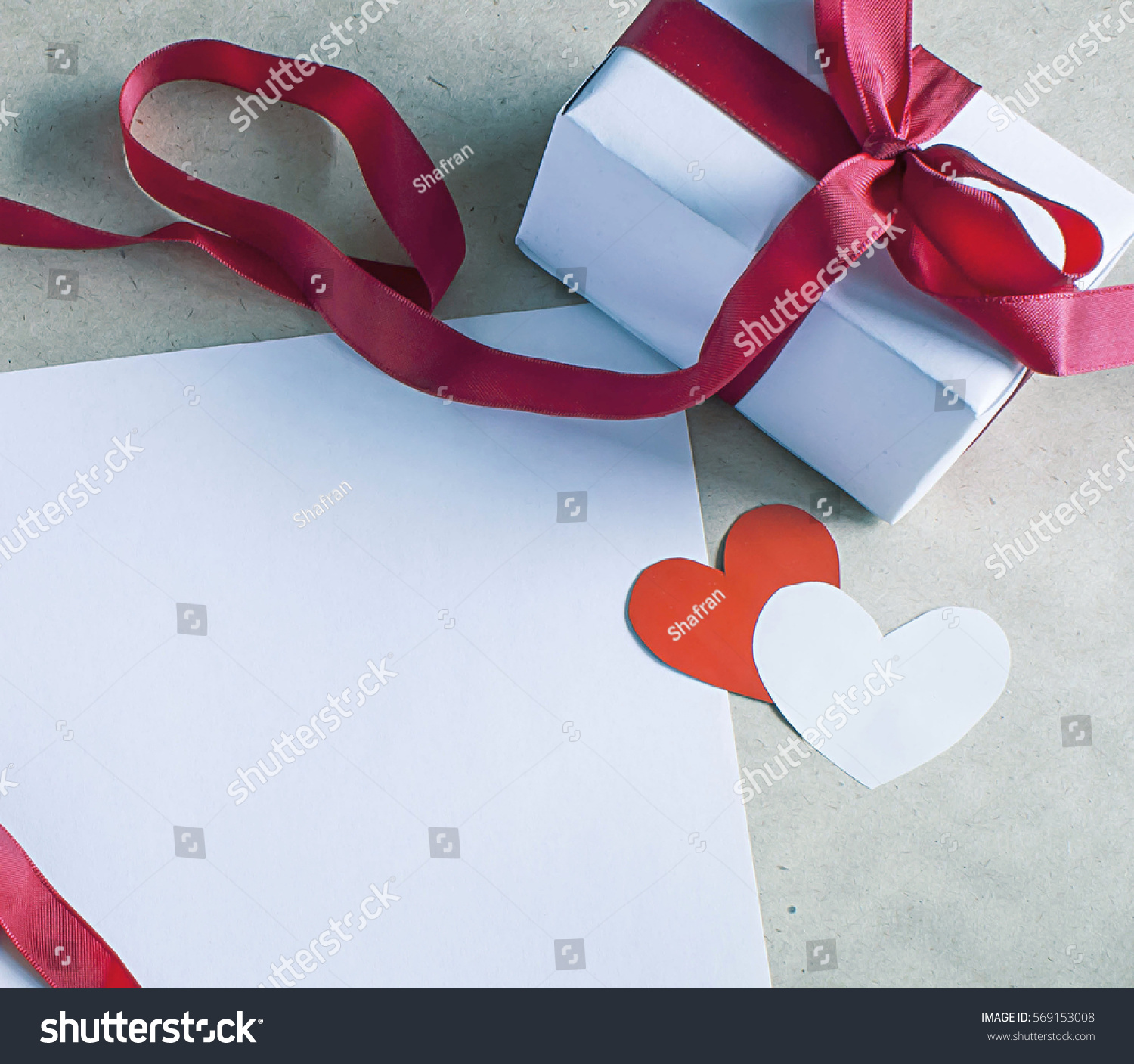 Valentines Day Romantic Template Paper Hearts Stock Photo ...
