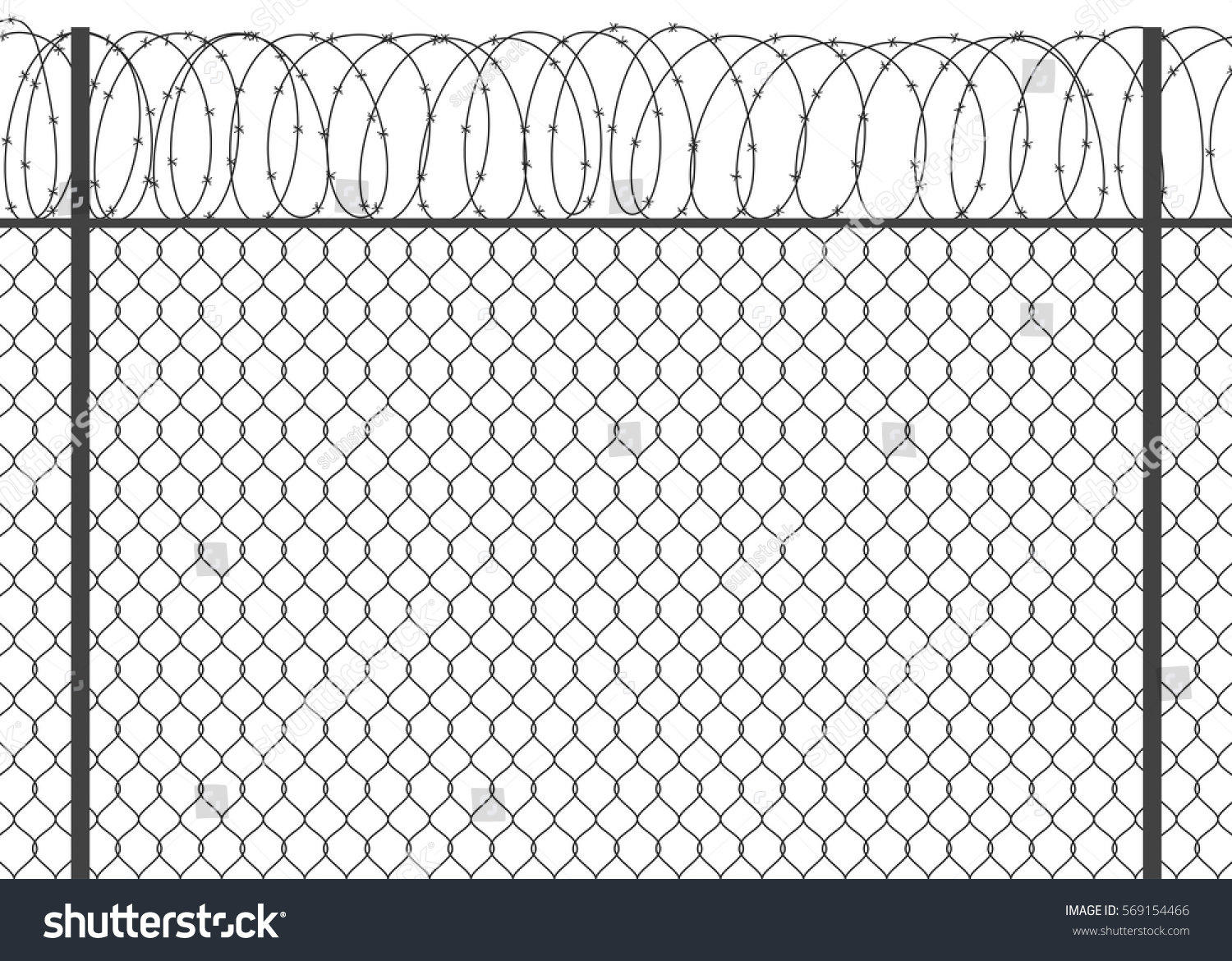 Metal Fence Barbed Wire Stock Vector 569154466 Shutterstock