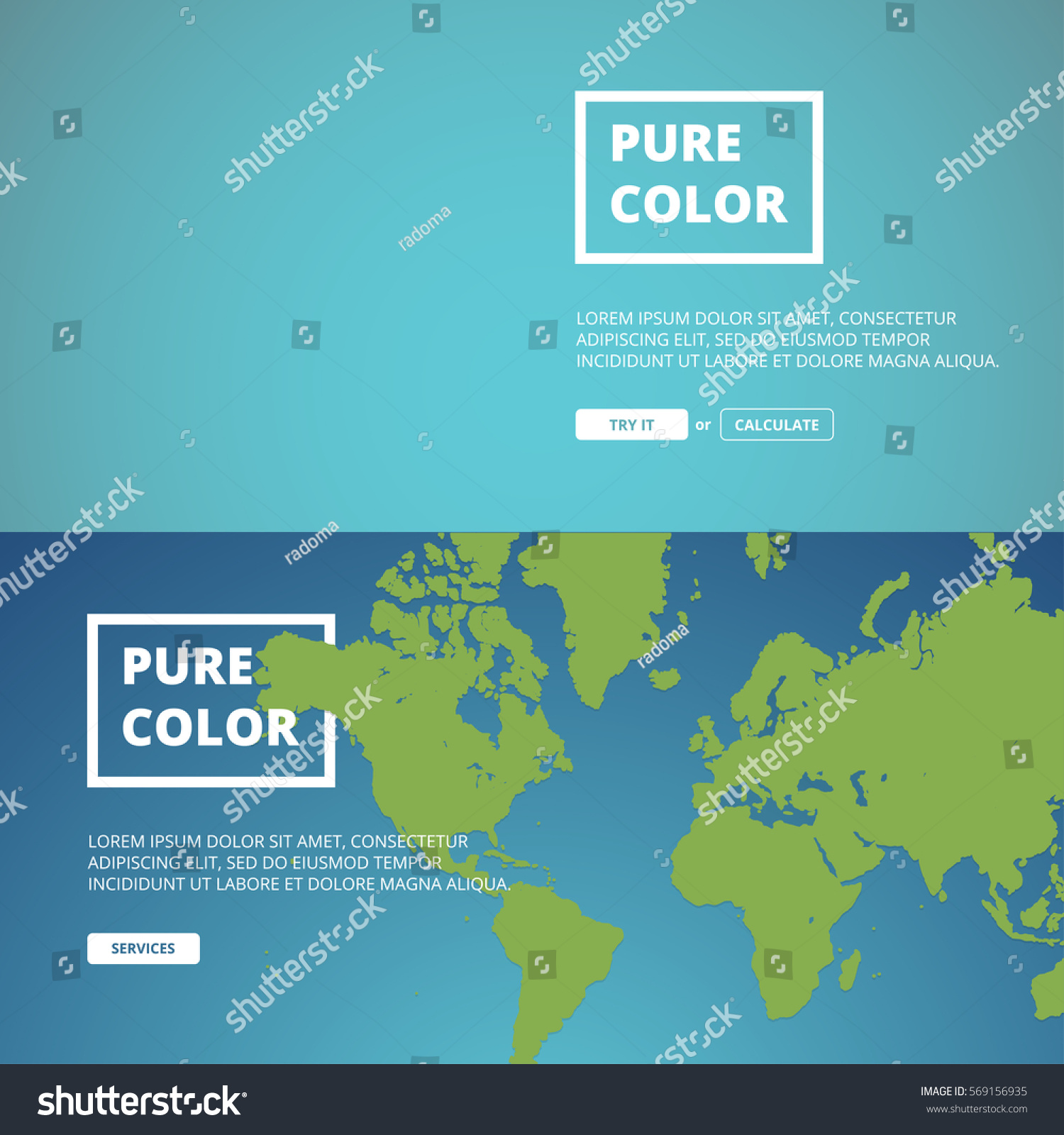 Colourful Website Banner Templates World Map Stock Vector 569156935 ...