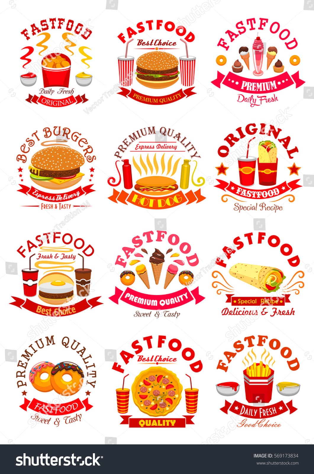Fast Food Symbols Set Chicken Nuggets Stock Vector Royalty Free