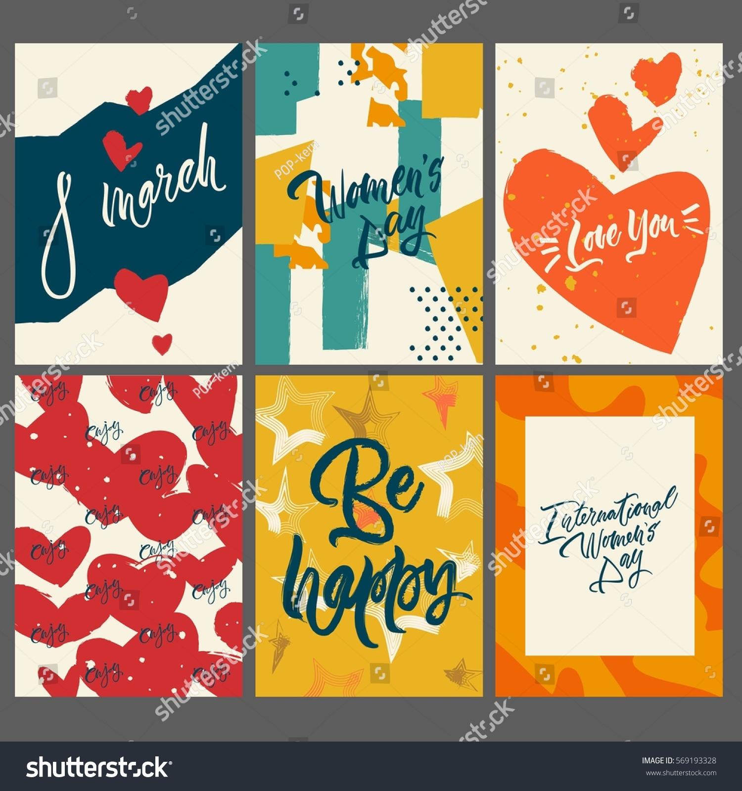 Set 6 Greeting Cards Textures Holiday Stock Vector 569193328
