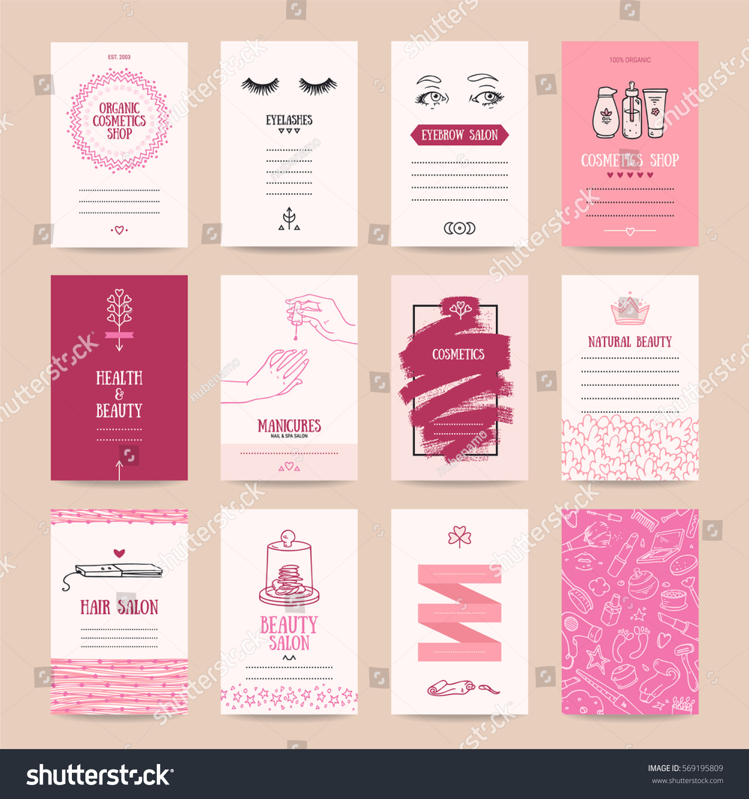 Cosmetics Shop Business Card Beauty Parlor Stock Vector 569195809 ...