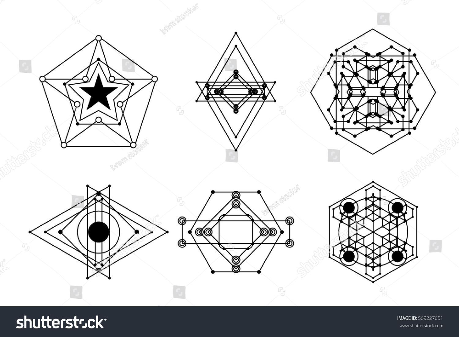 Set abstract symbol different styles sacred stock vector 569227651 a set of abstract symbol in different styles sacred geometry magic mystic biocorpaavc