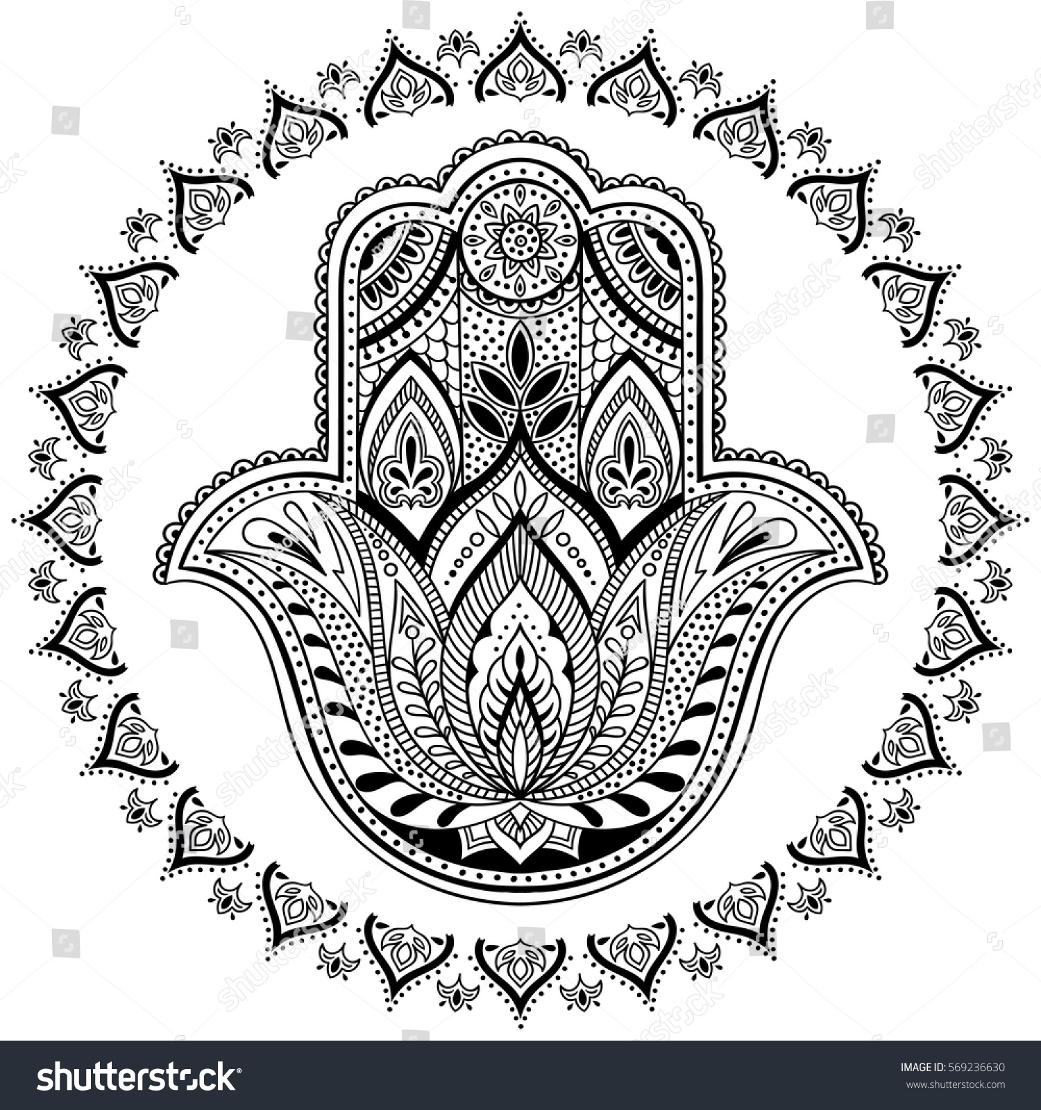Vector Indian Hamsa Hand Symbol Black Stock Vector Royalty Free
