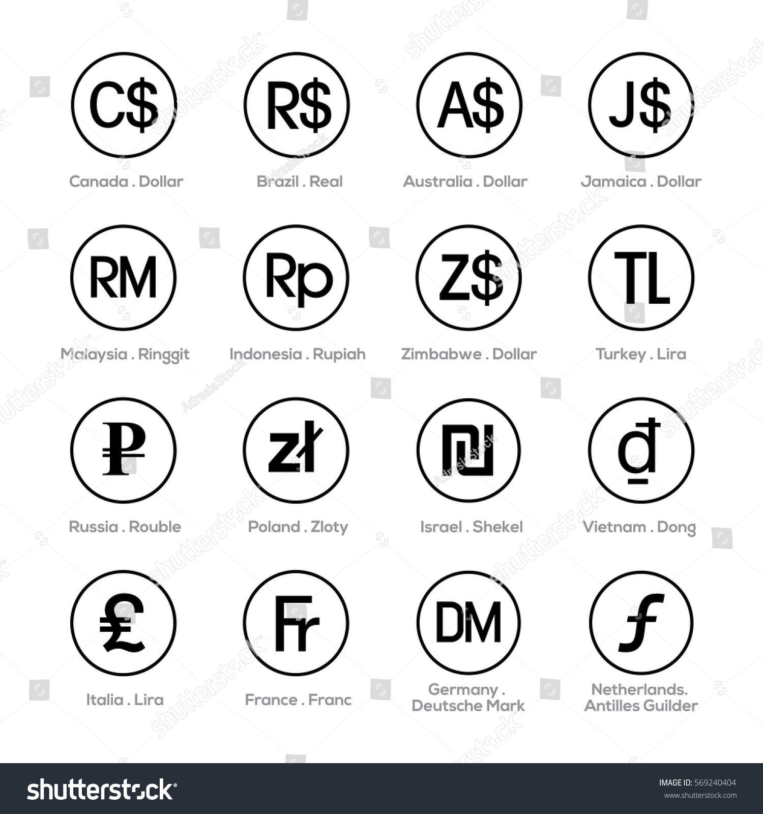 Aed currency symbol image collections symbol and sign ideas set icons currency symbol stock vector 569240404 shutterstock set of icons for currency symbol buycottarizona buycottarizona