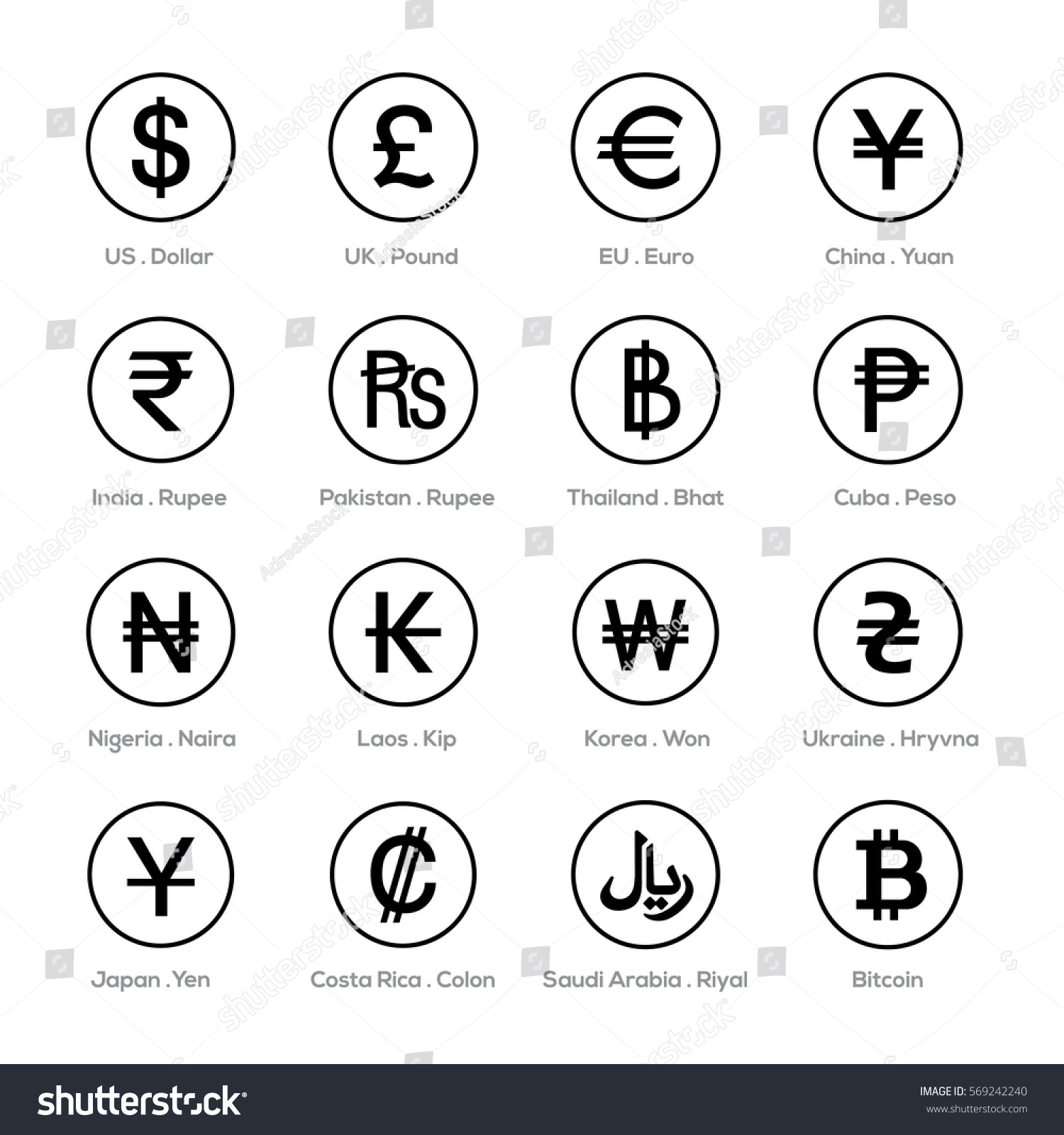 Set Icons Currency Symbol Stock Photo Photo Vector Illustration