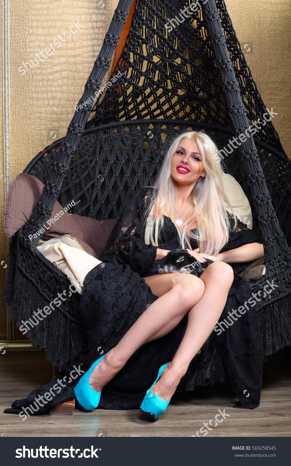 Blonde Black Poses Funny Rabbit On Stock Photo (Edit Now) 569258545 ...