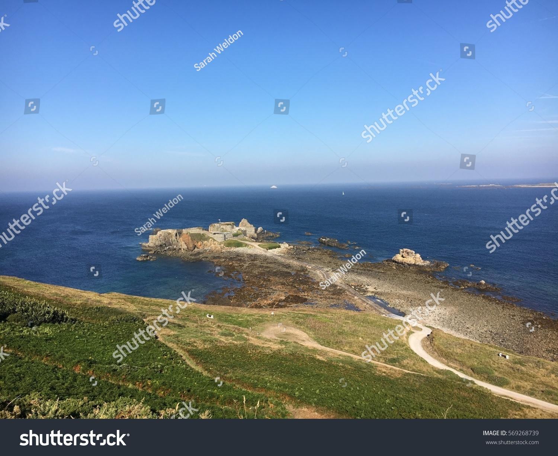 cliffs overlooking ocean alderney british channel stock photo edit