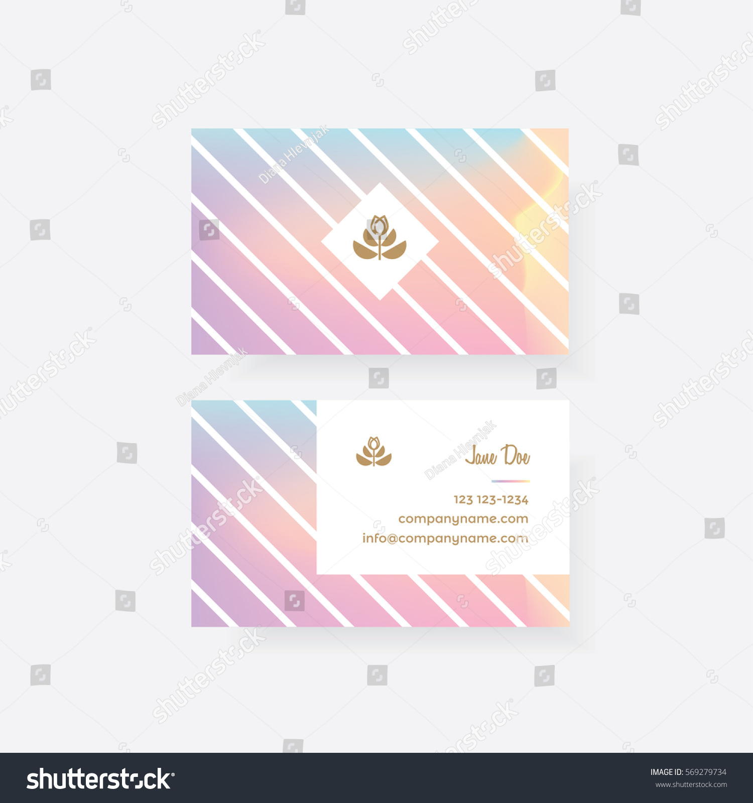 Colorful feminine business card template golden stock vector colorful feminine business card template with golden floral logo mark and holographic gradient pattern with white magicingreecefo Image collections