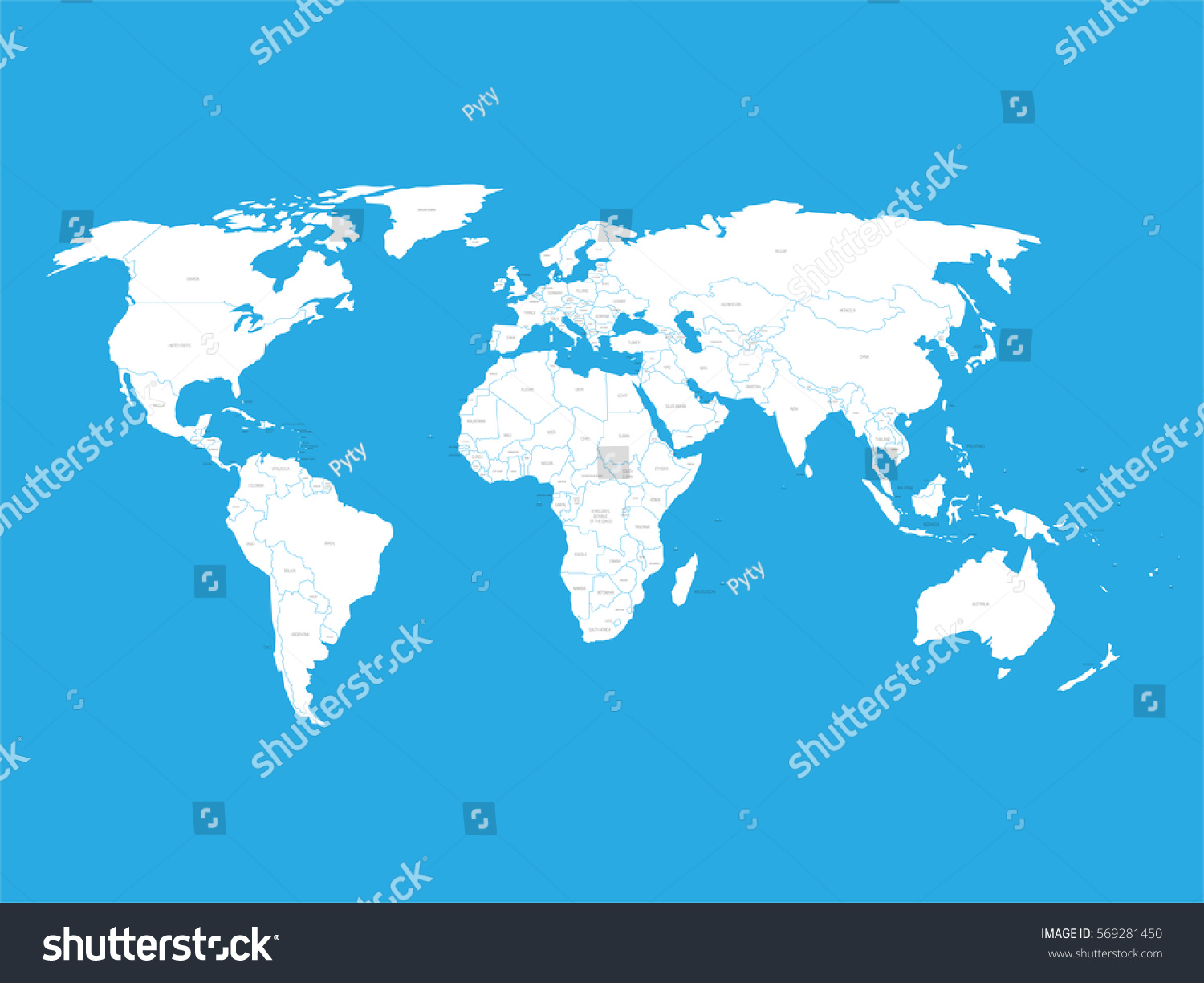 Political vector world map state name vectores en stock 569281450 political vector world map with state name labels white land with black text on blue gumiabroncs Choice Image