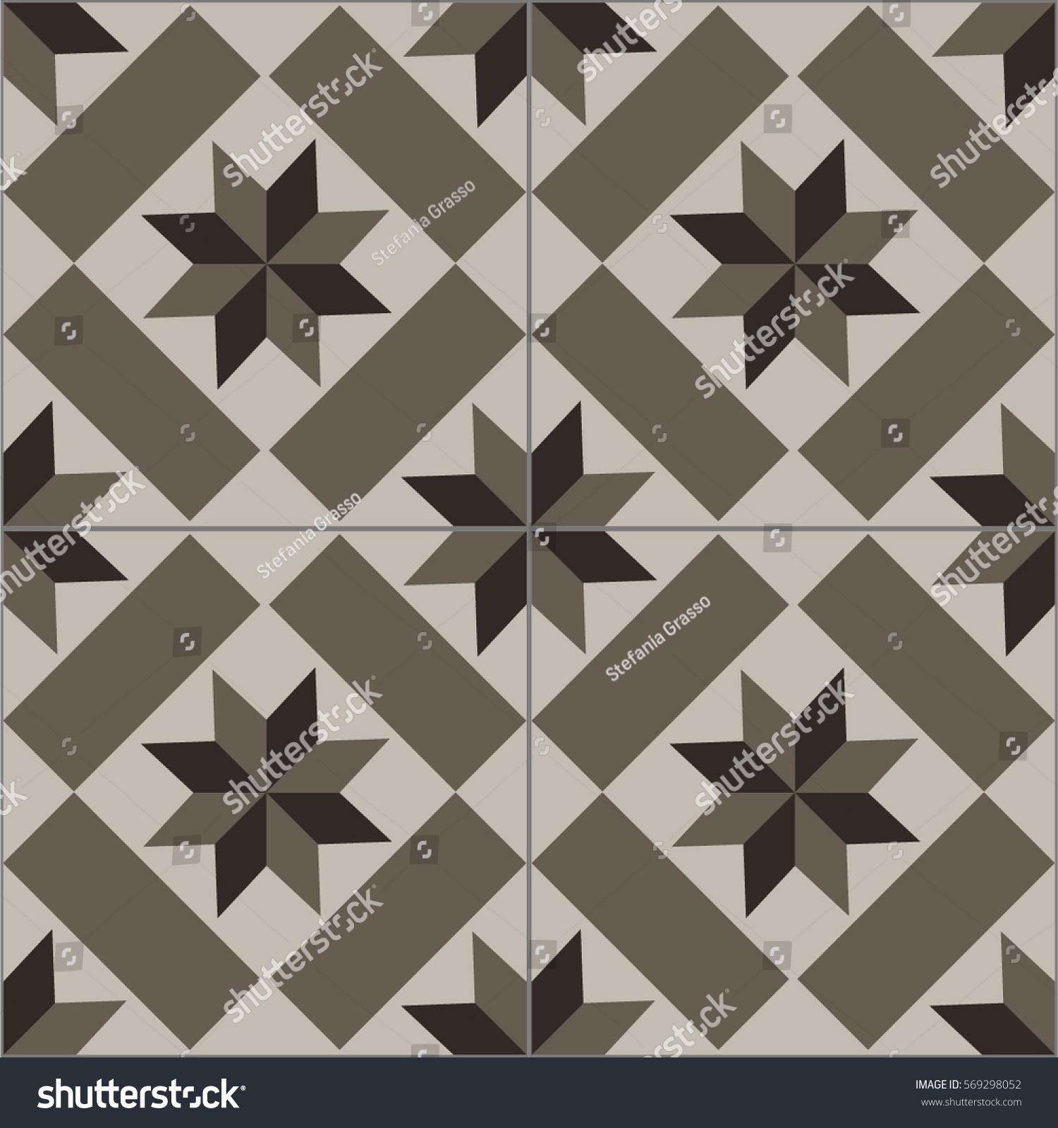 Patterned Floor Wall Tiles Modern Decor Stock Vector 569298052 ...