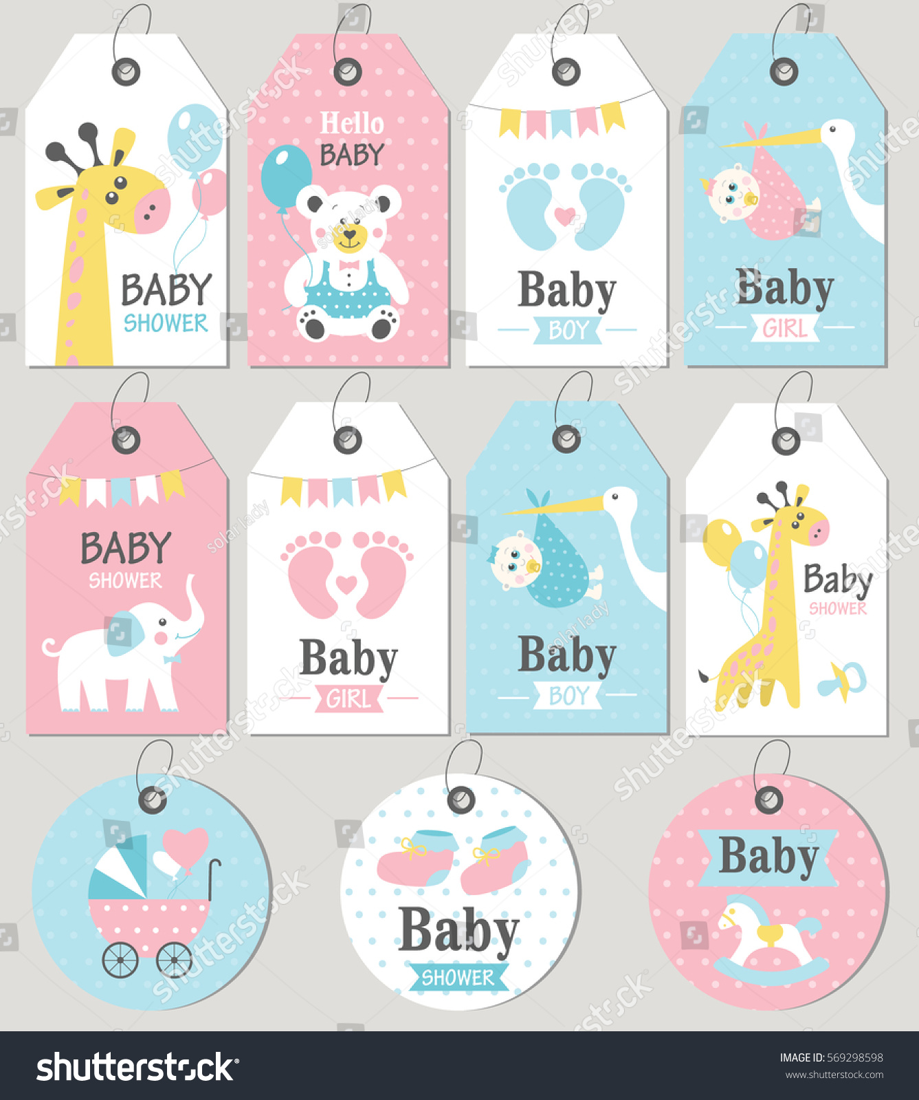 Gift Tags Cards Baby Shower Baby Stock Vector Shutterstock