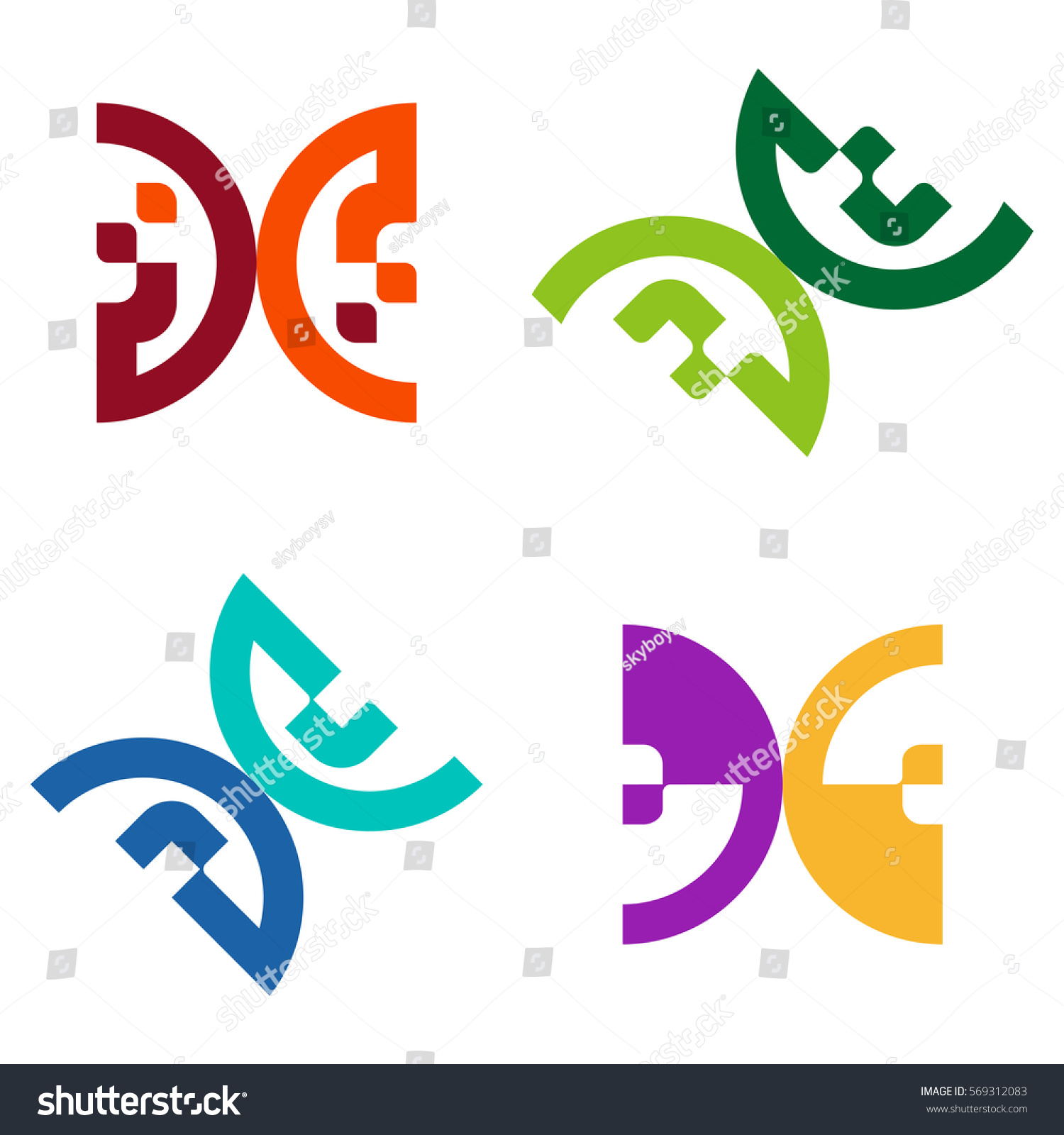 Abstract Semicircle Logo Element G B Stock Vector Royalty Free Electronic Integrated Circuit Chip Image 569312083 Shutterstock