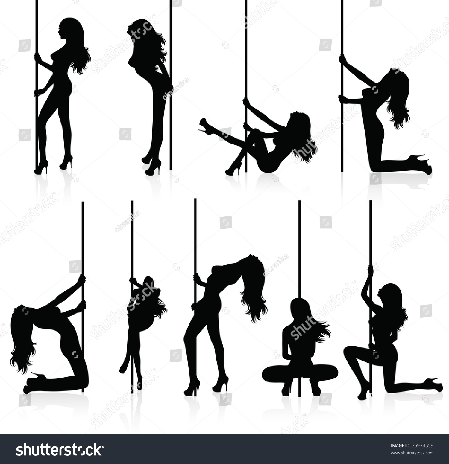 Set of vector silhouettes of a naked stripper woman with a pole. Set Vector Silhouettes Naked Stripper Woman Stock Vector 56934559