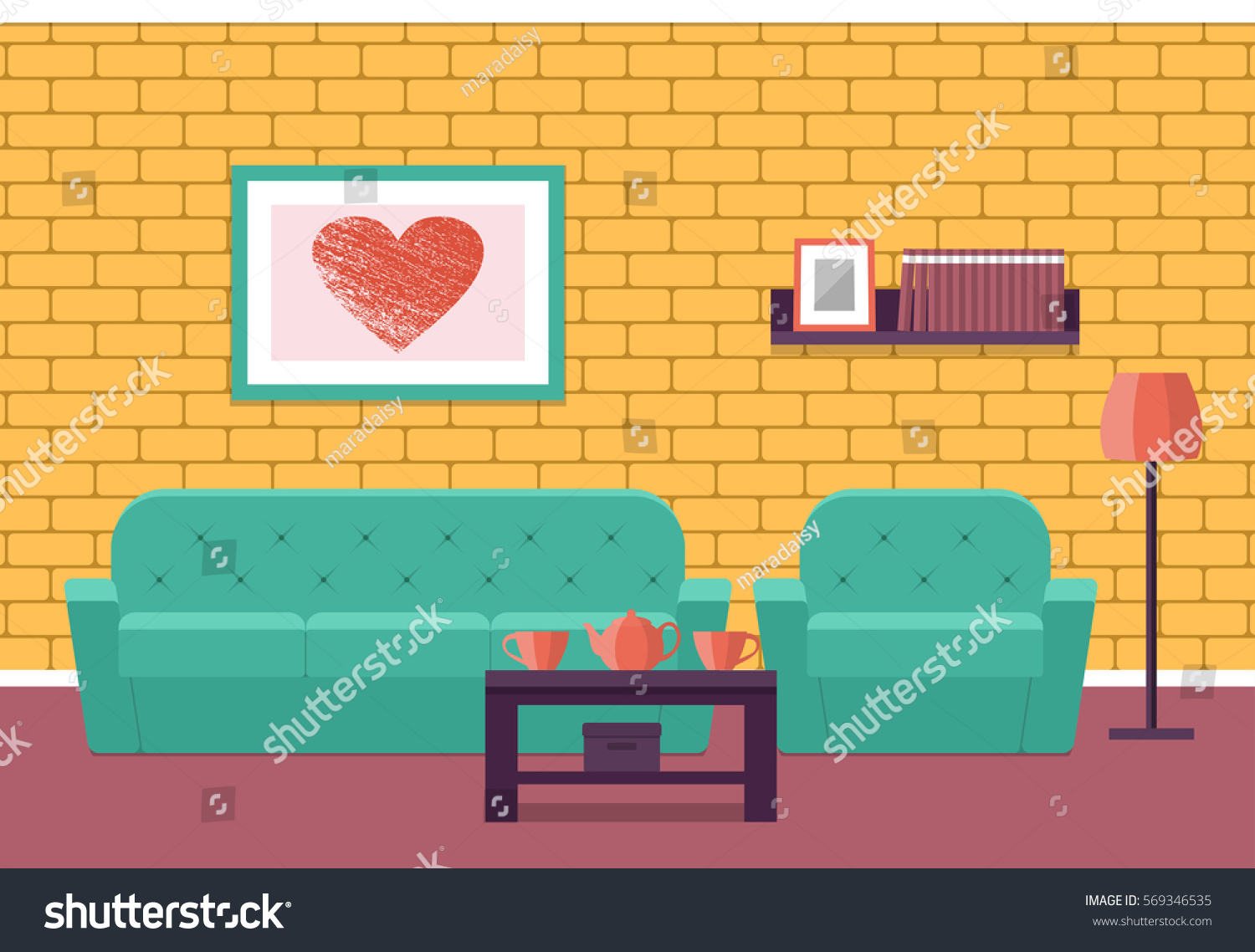 Living Room Interior Flat Vector Background House Design Lounge With Furniture Sofa Armchair