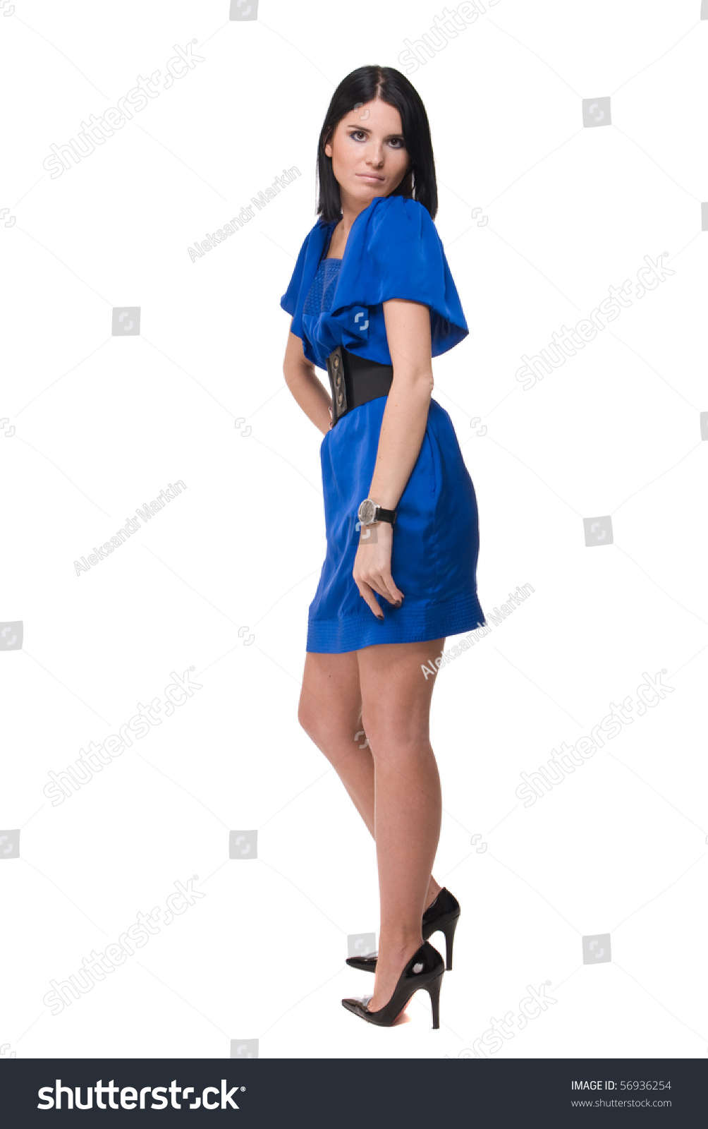 Perfect Stunning Woman In Blue Dress On Black Background Royalty Free Stock