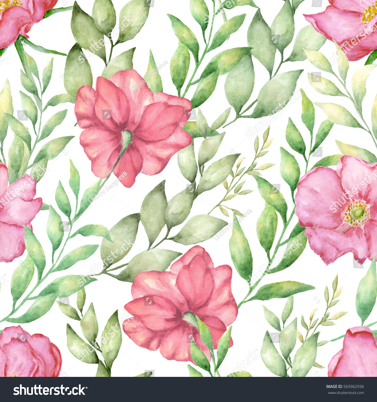 Watercolor Hand Draw Seamless Pattern Different Stock Illustration
