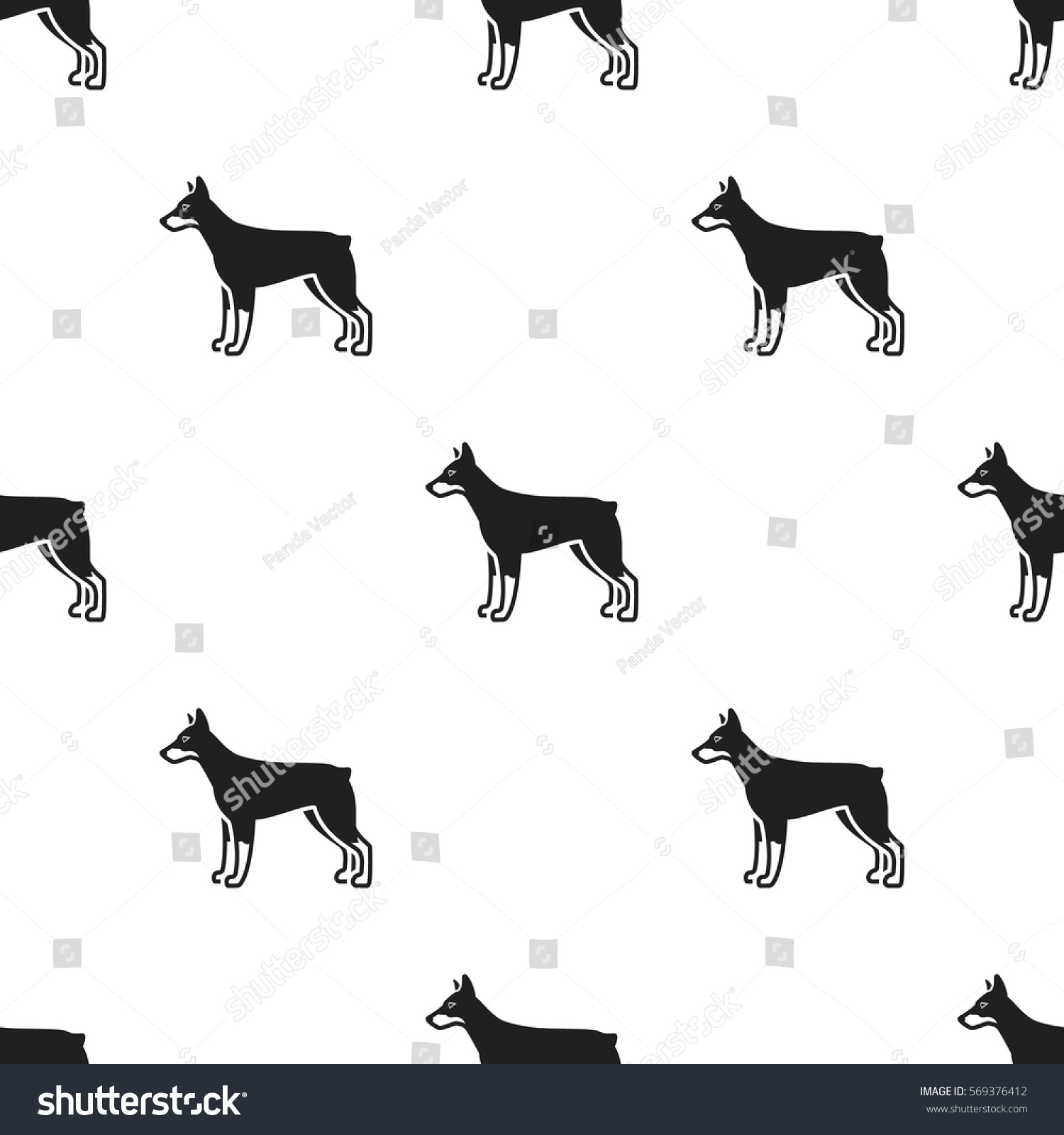 doberman vector icon in black style for web