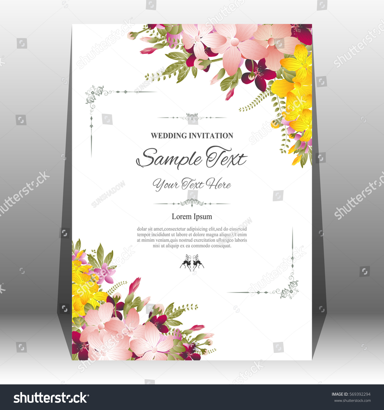 Wedding Invitation Greeting Card Abstract Floral Stock Vector ...