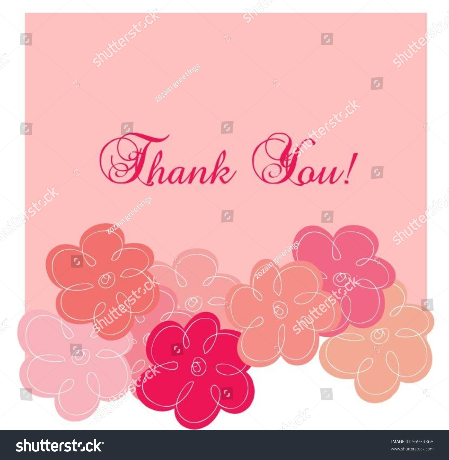 Pink thank you greeting card stock vector 56939368 shutterstock pink thank you greeting card kristyandbryce Images