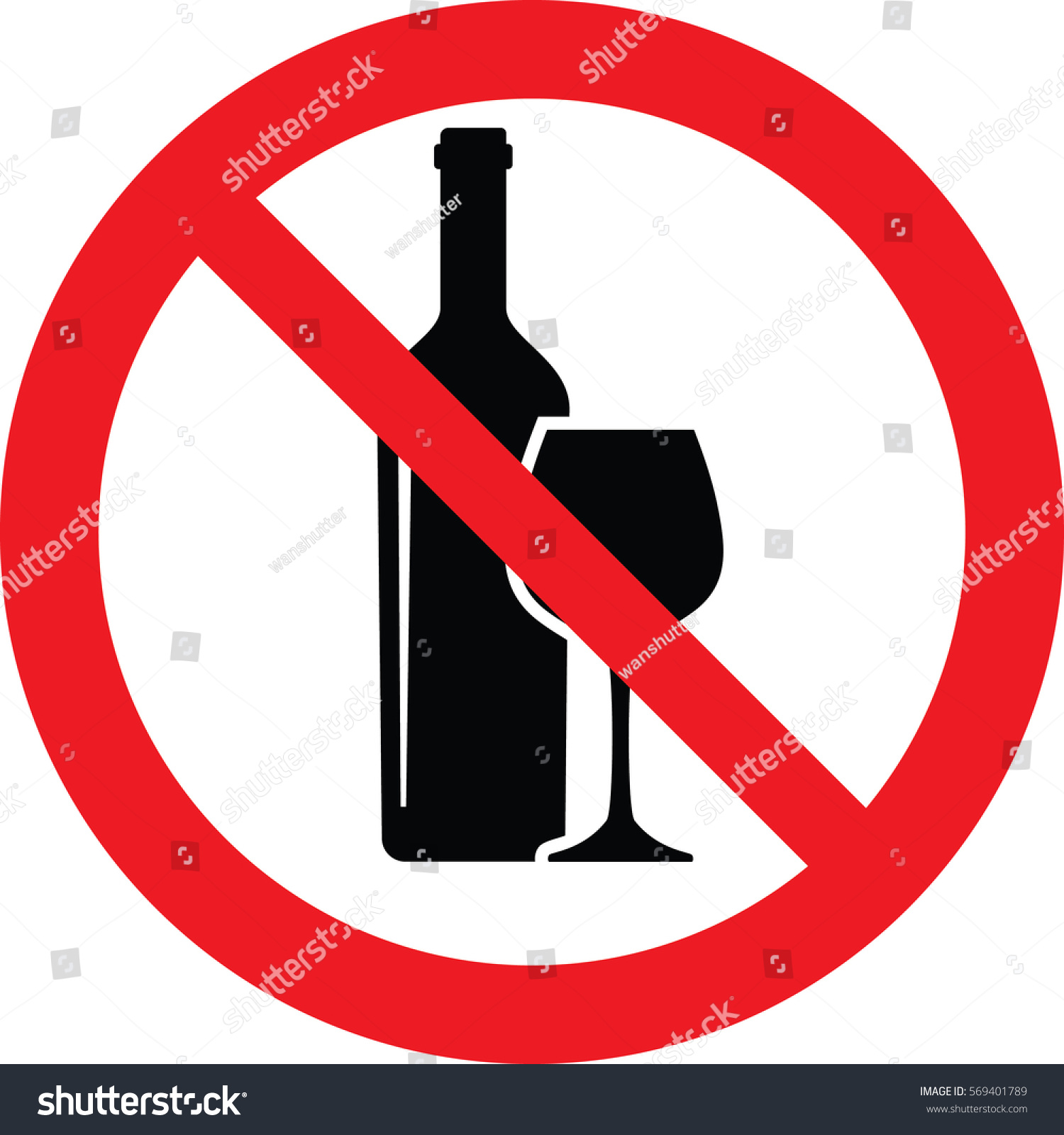 No alcohol sing vector