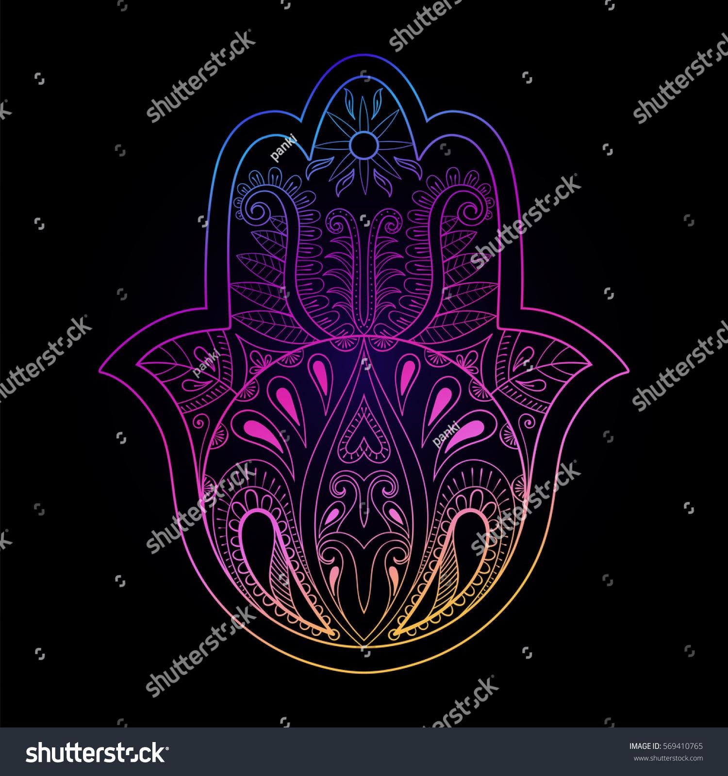 Color Hamsa Hand Vector Illustration Hand Stock Vector Royalty Free