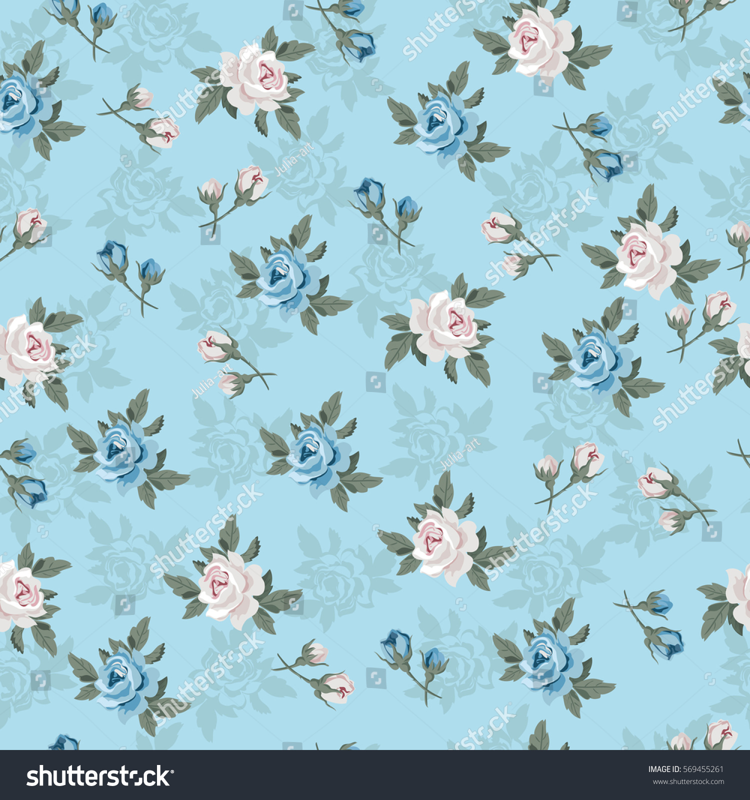 Seamless vintage flower pattern for gift wrap and fabric design