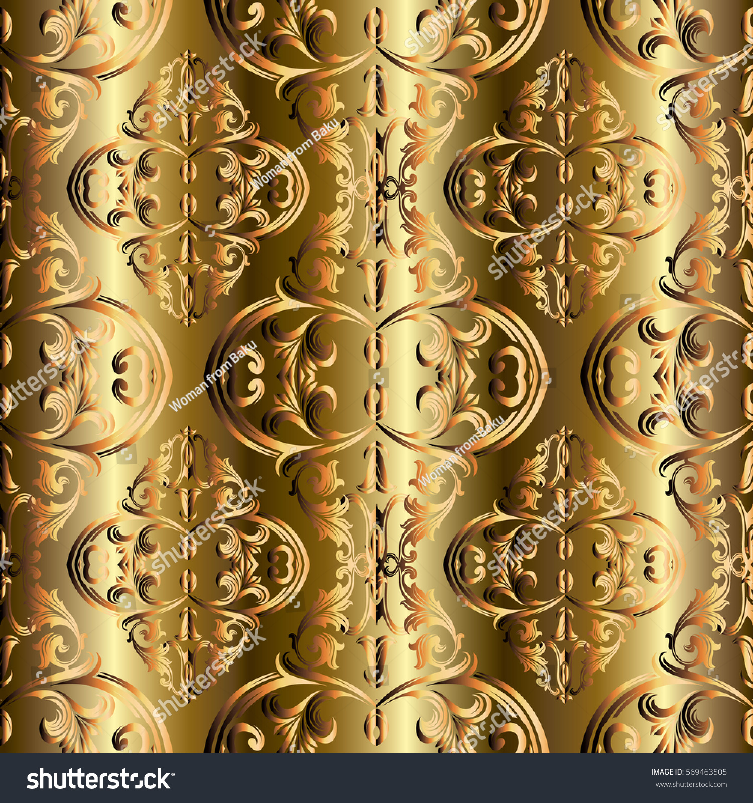 Baroque Seamless Pattern Antique Vintage Gold 3 D Stock Vector (2018 ...